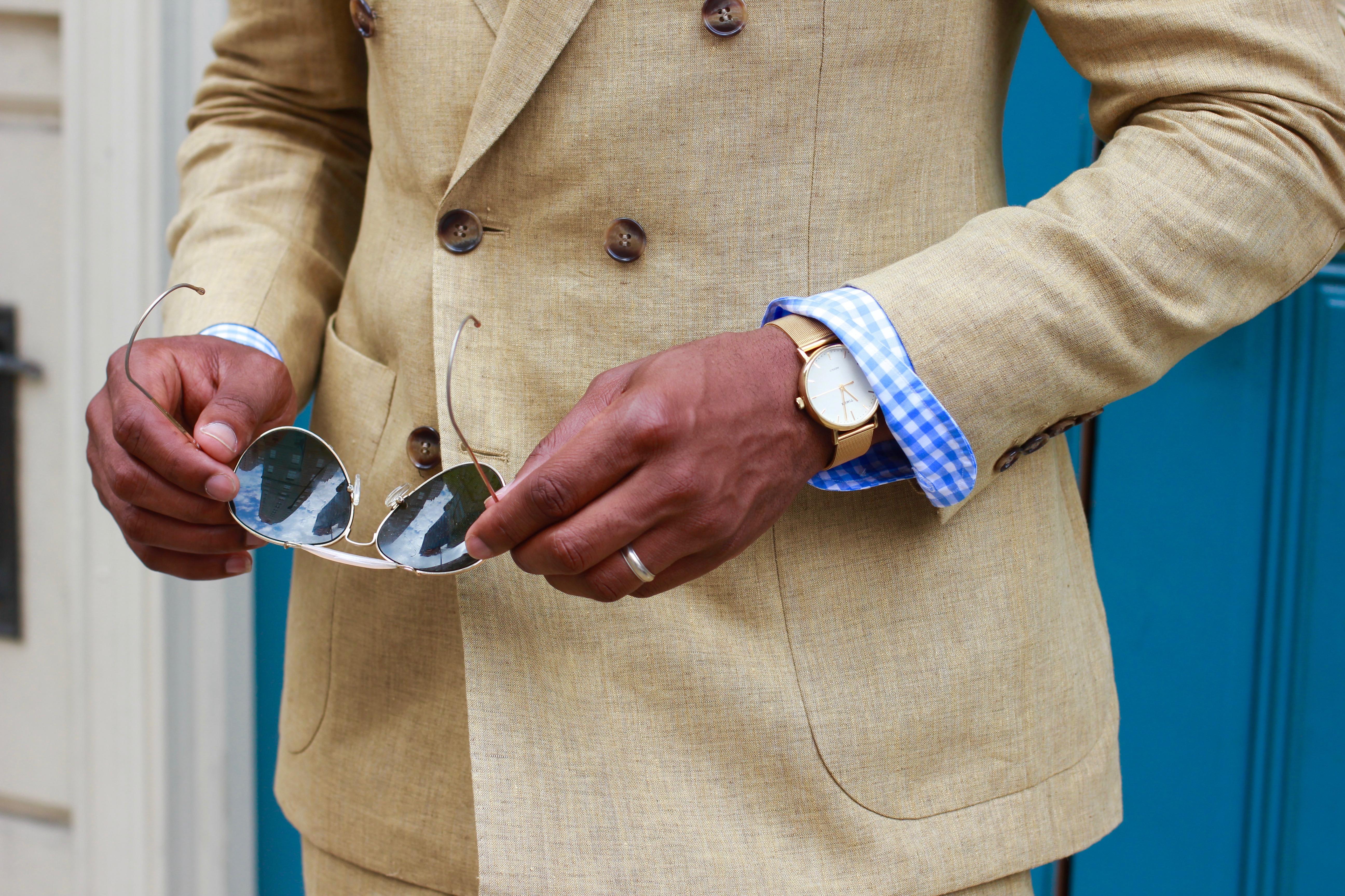 Sabir M. Peele in Oliver Wicks Sand Linen Suit