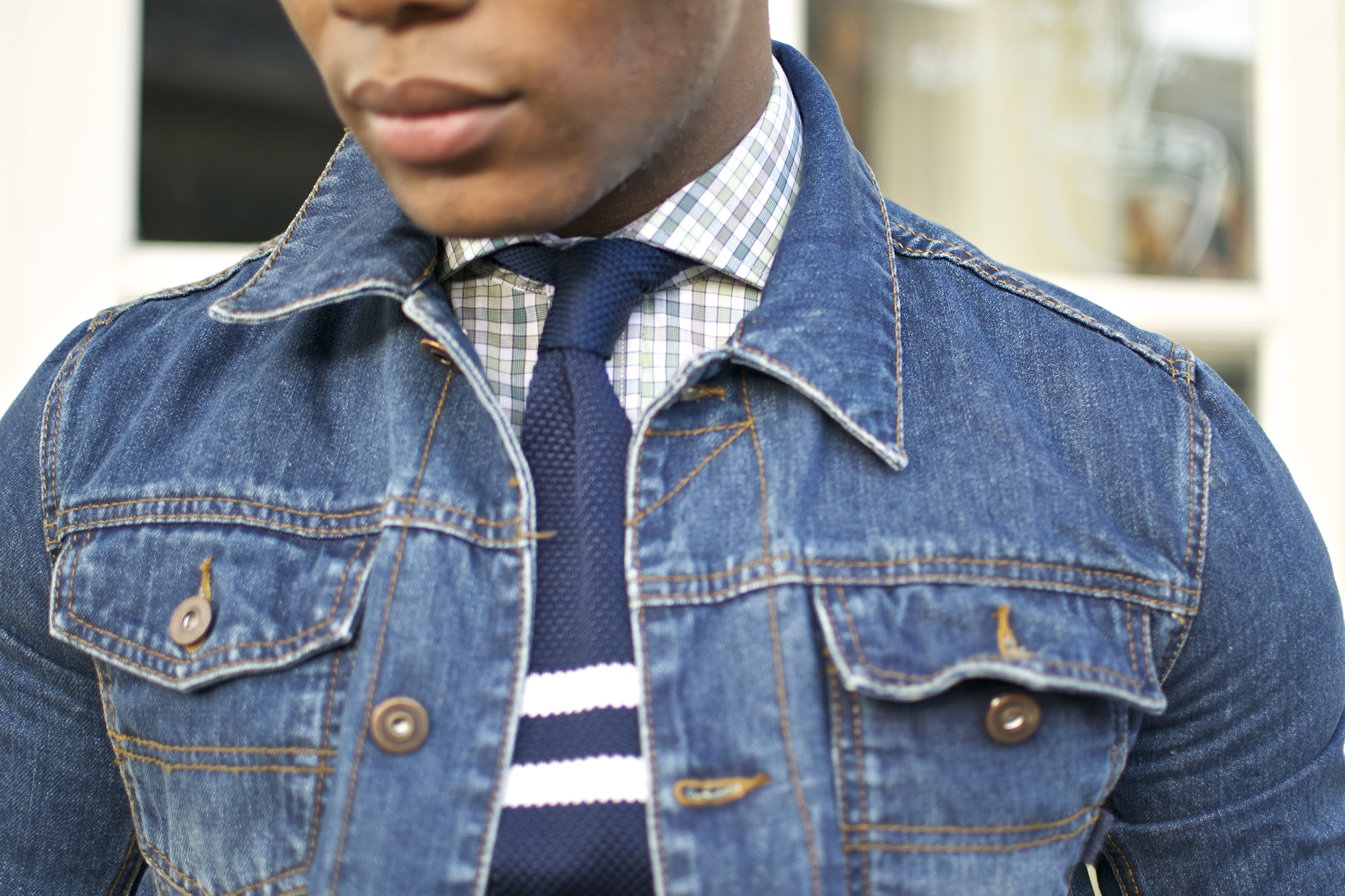 Gingham Hugh & Crye Shirt with Asos Denim Jacket