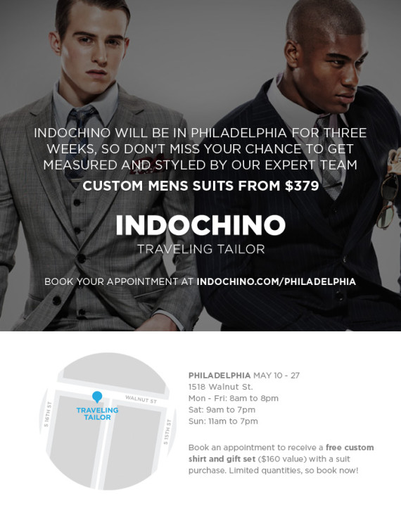 Indochino Traveling Tailor Philly Edition & Suit Giveaway