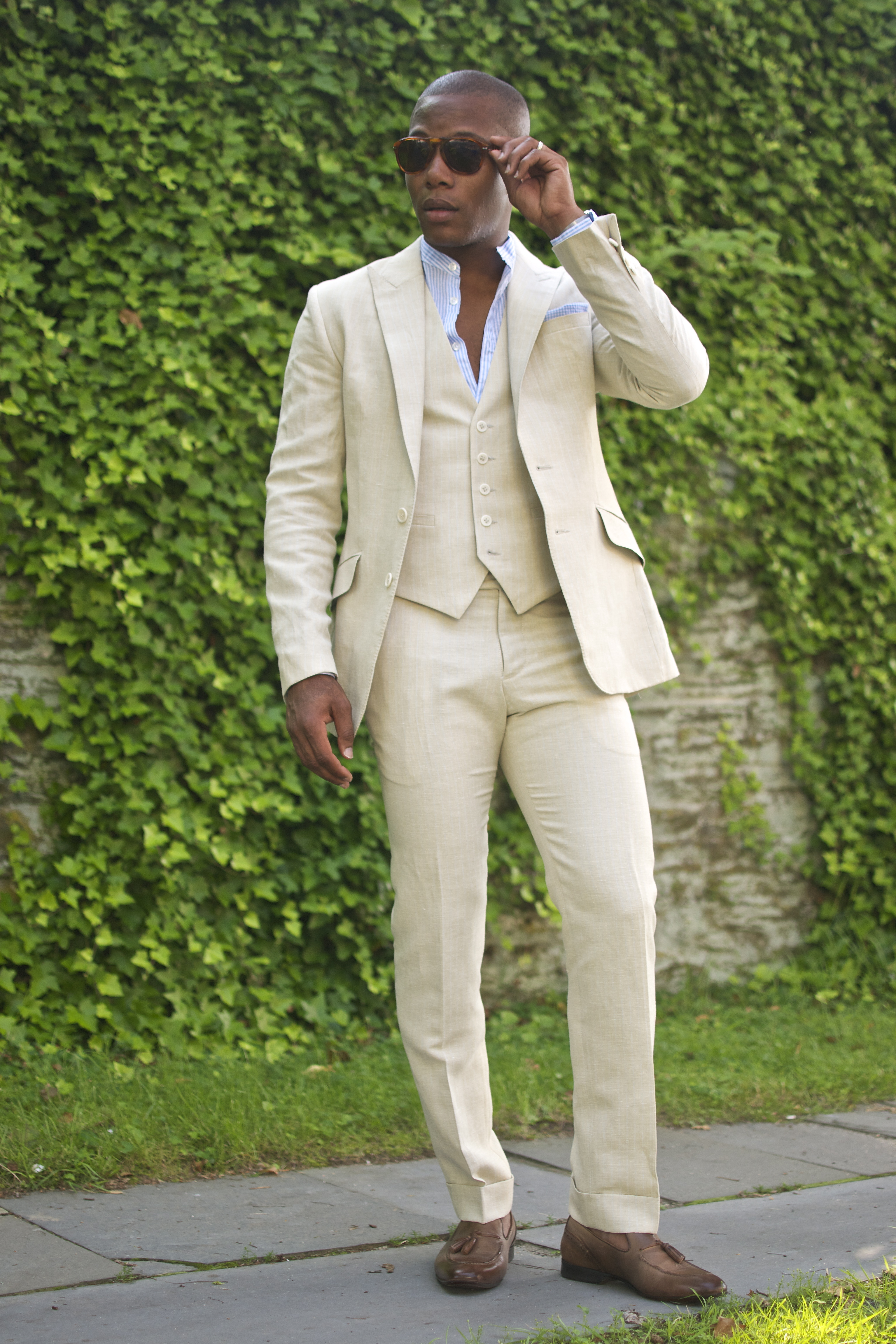 Men's Style Pro in Dragon Inside Linen Three Suit