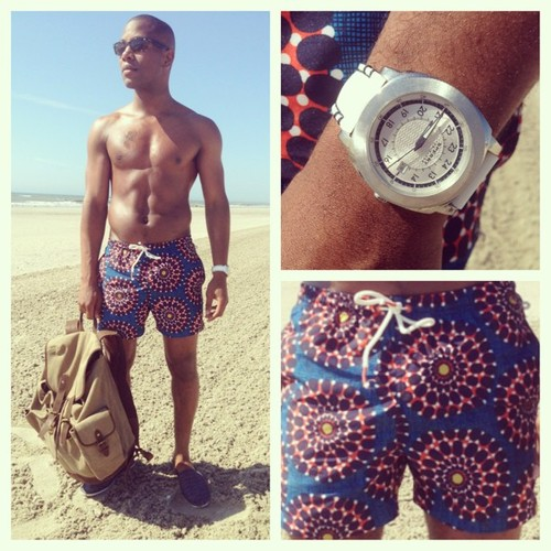 Sabir wearing H&M Trunks, Navali backpack & Sperry Topside #TIMEFORSPERRY Drifter Watch