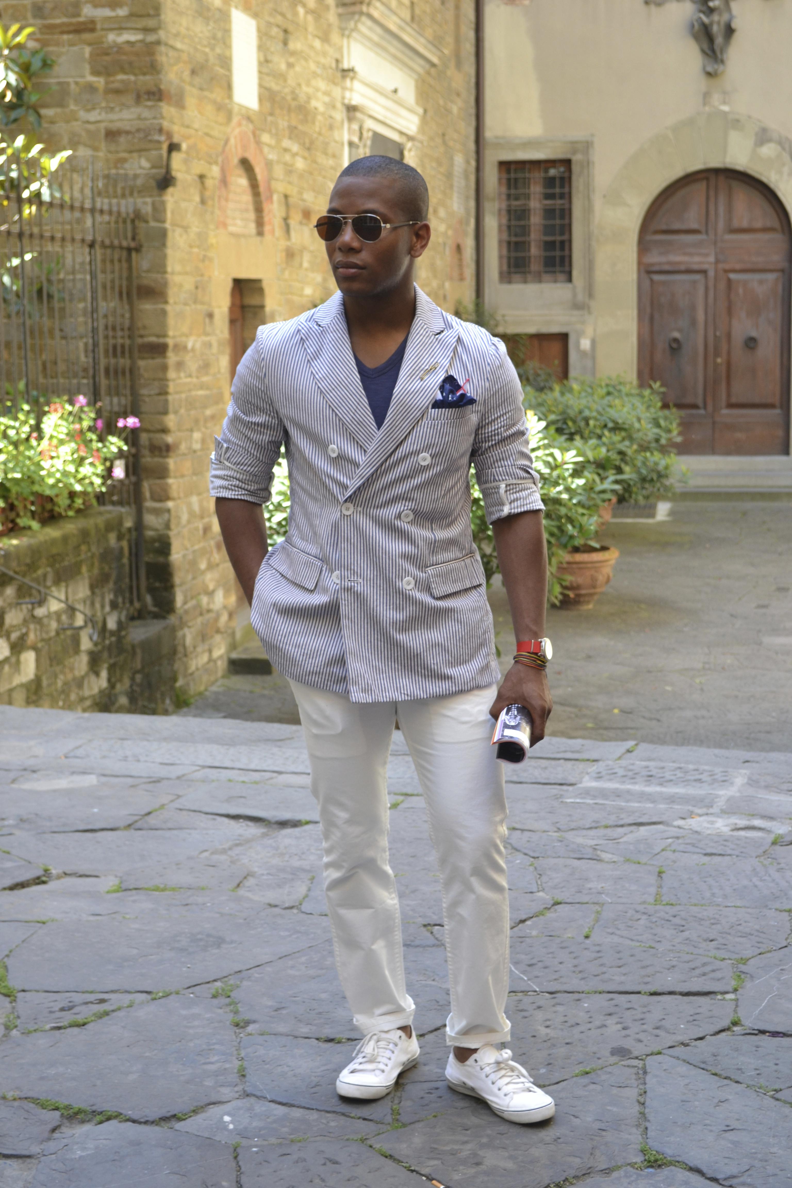 Sabir wearing Barque New York blazer at Pitti Uomo 84