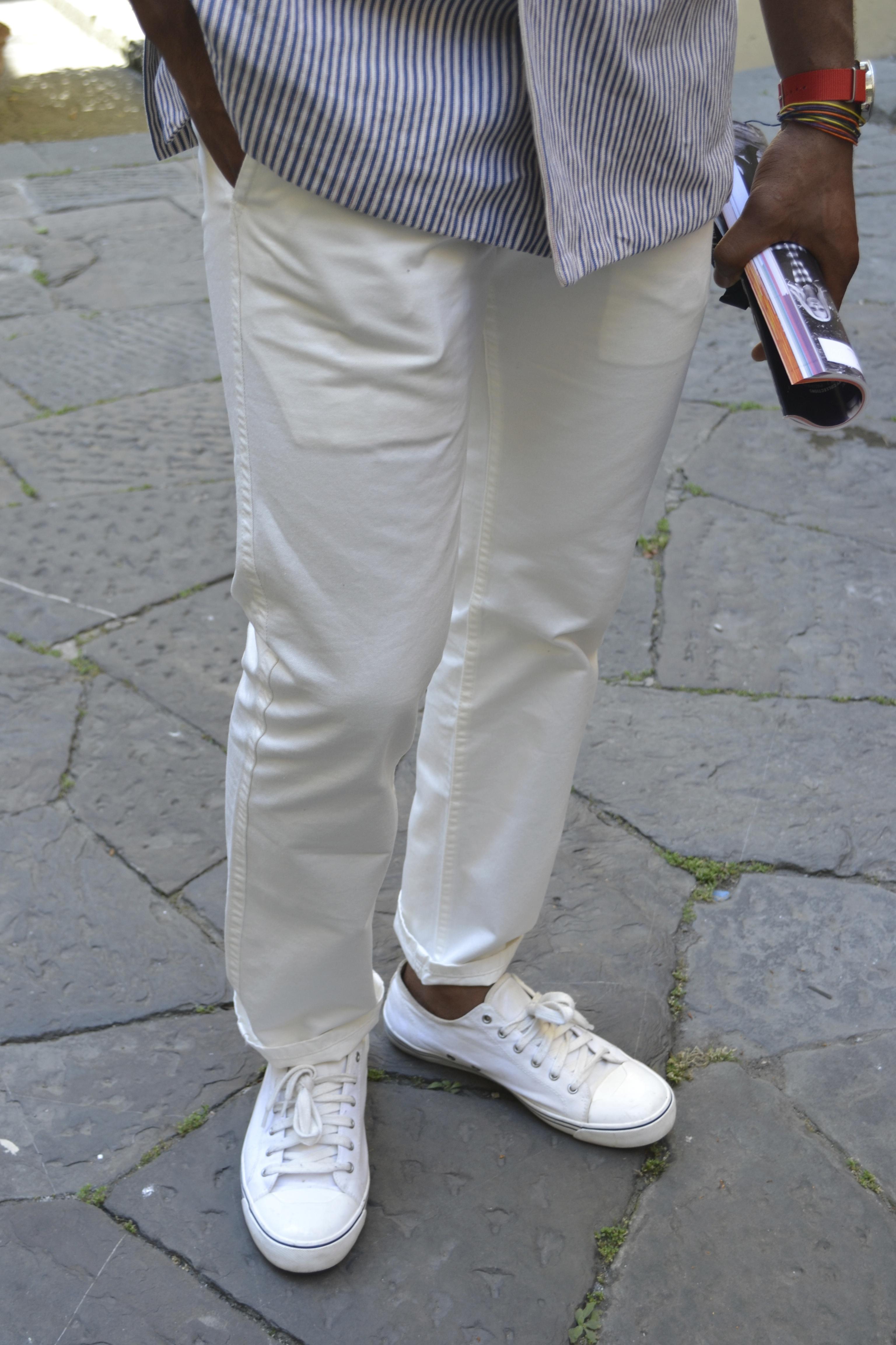 Sabir Wearing Docker Alpha Khaki in White at Pitti Uomo 84