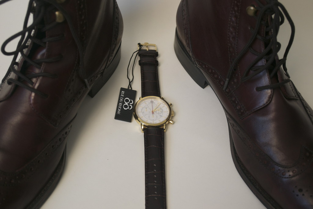 88 Rue du Rhone Chronography Watch x Johnston & Murphy Wingtip Oxblood Boots