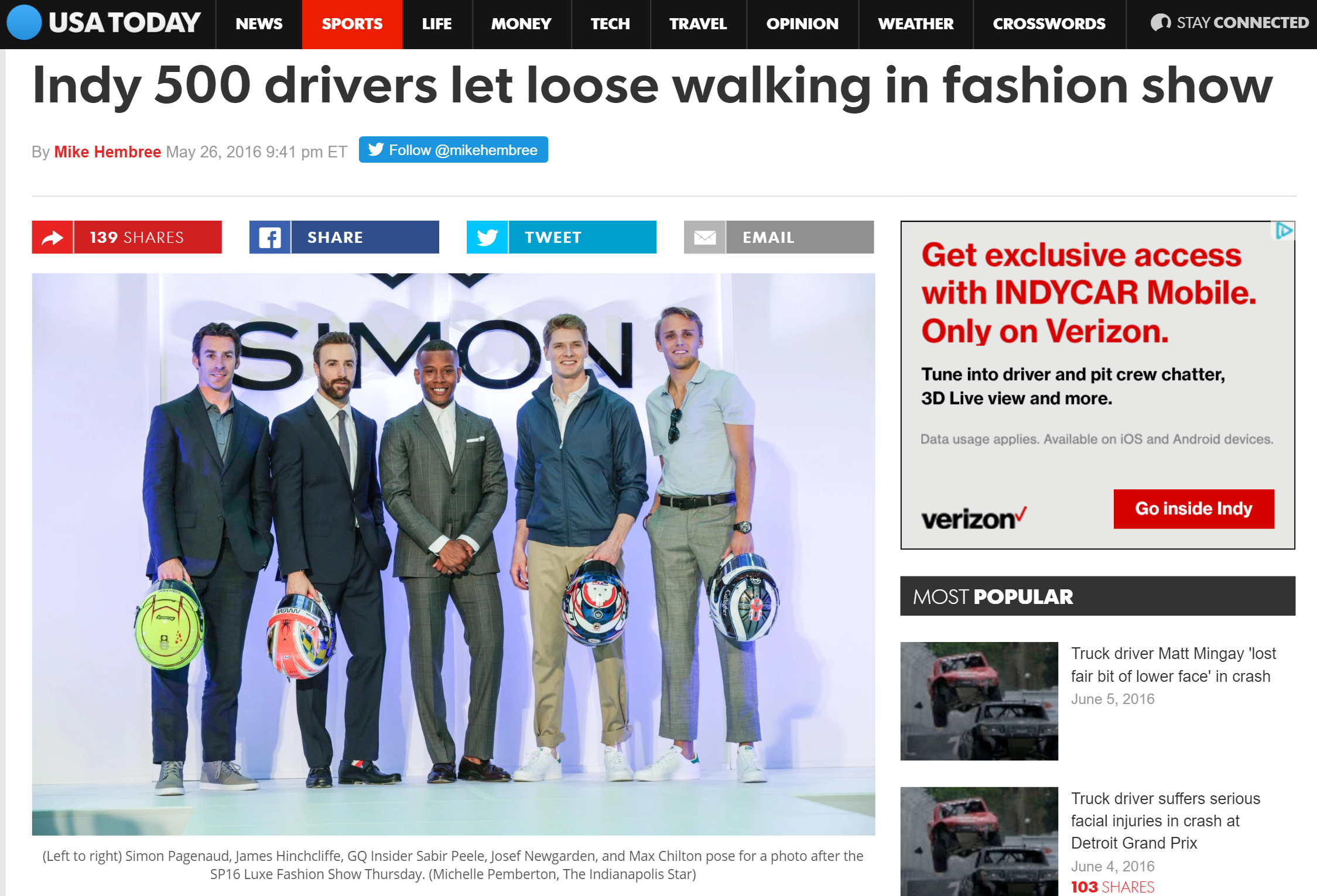 GQ Insider Sabir Peele Hosts Indy 500 Luxe Runway Show