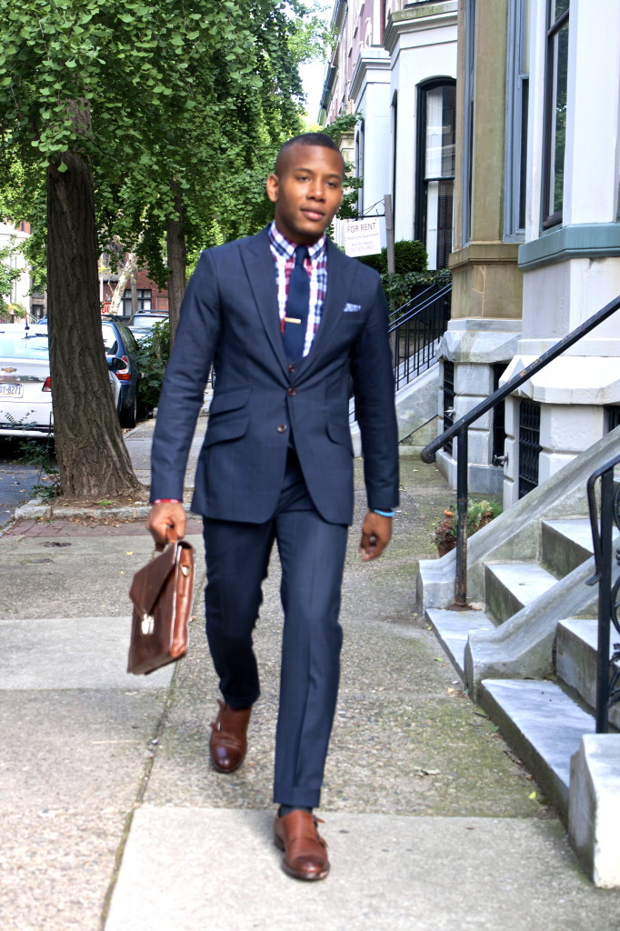Clayton Double Monk Strap Shoe by Johnston & Murphy with Dragon Inside Navy Plaid Suit