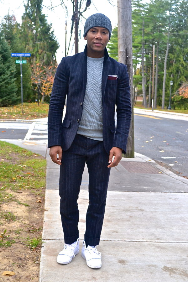 Sabir Peele in Chalk Strip Suit & Sweat Shirt With Darrock Suit by Jack Wills