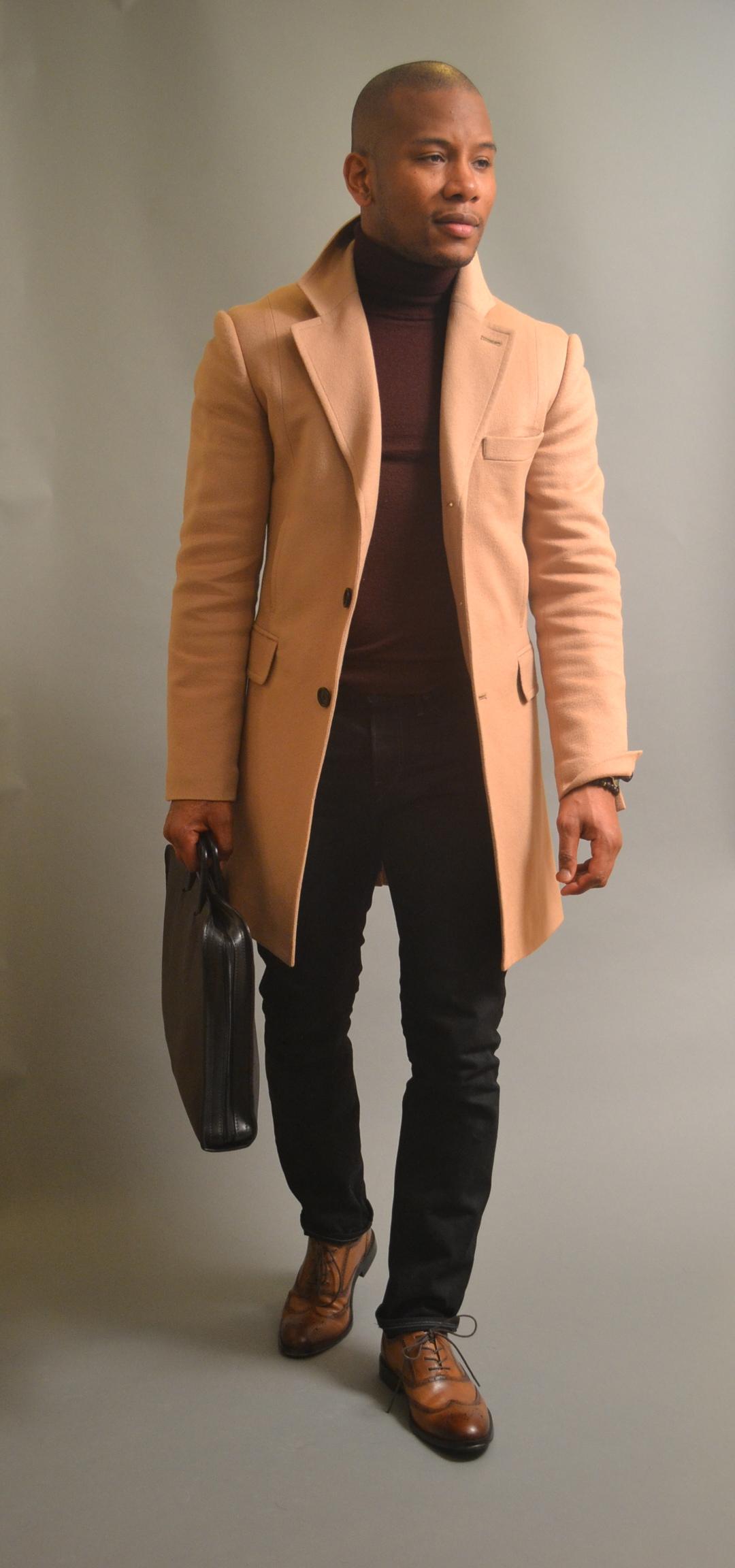 Sabir Peele In 3x1 black denim jeans & aston grey wingtips from dsw