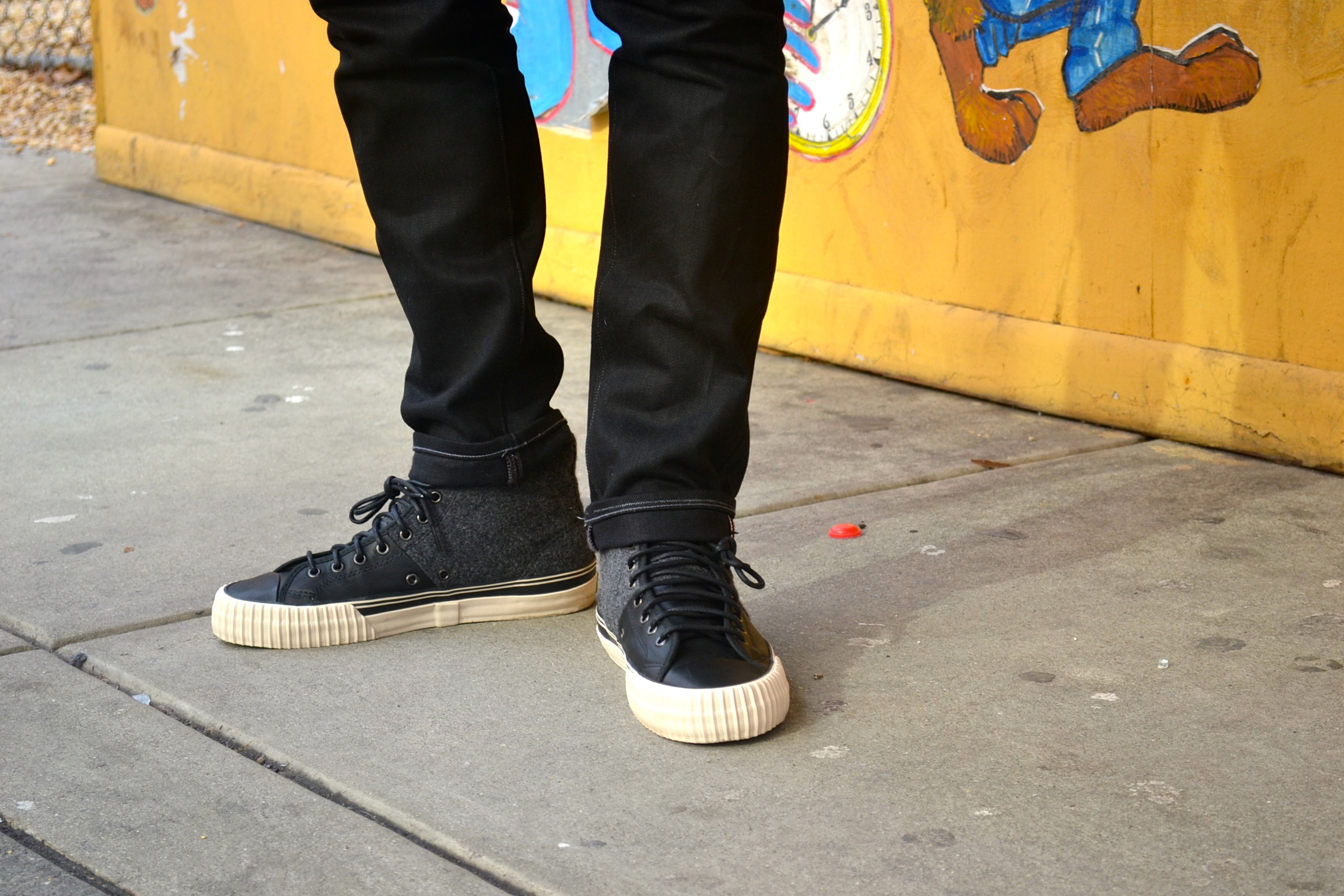 Sabir Peele in Wool/Leather Pf Flyers Center Hi