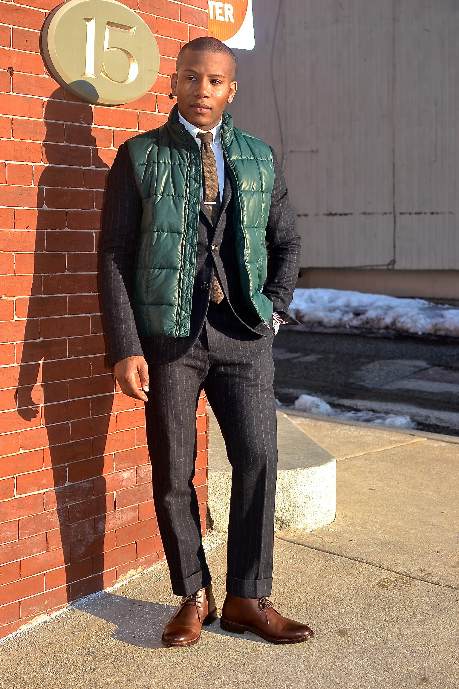 Jack Wills Darrock Wool Chalk Stripe Suit & Beckett Simonon Bailey Chukka Boots