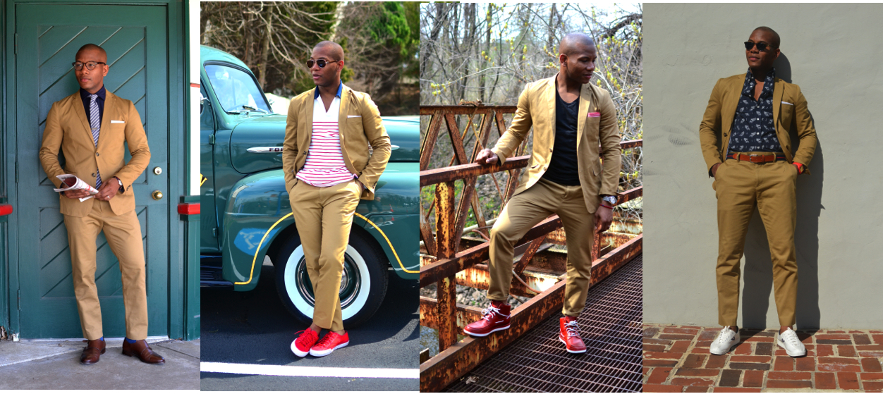 Sabir Peele in Frank & Oak Khaki Suit