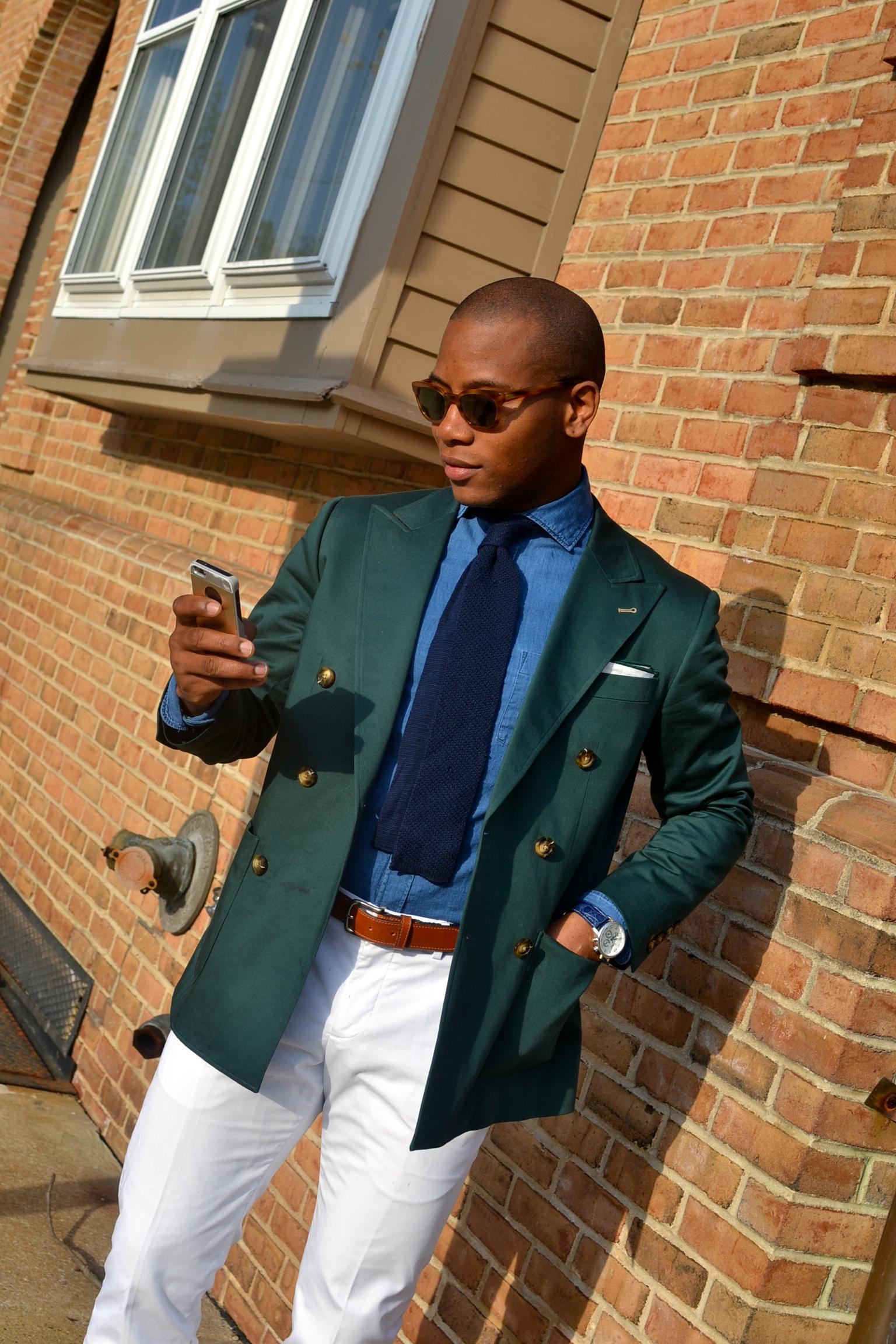 Sabir Peele Indochino Custom Green Double Breasted Blazer Triptic