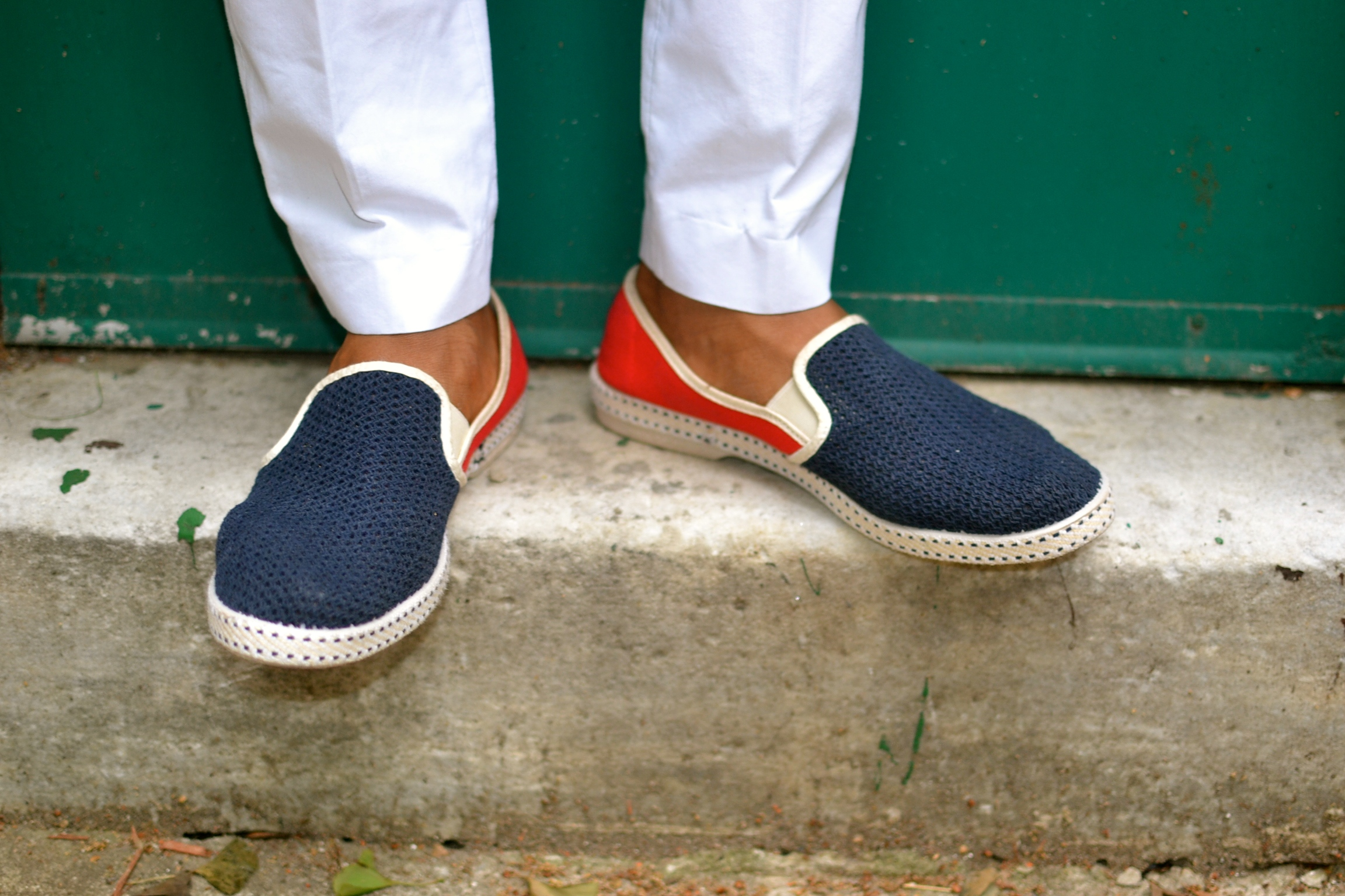 Rivieras Blue & Red Cotton Loafer