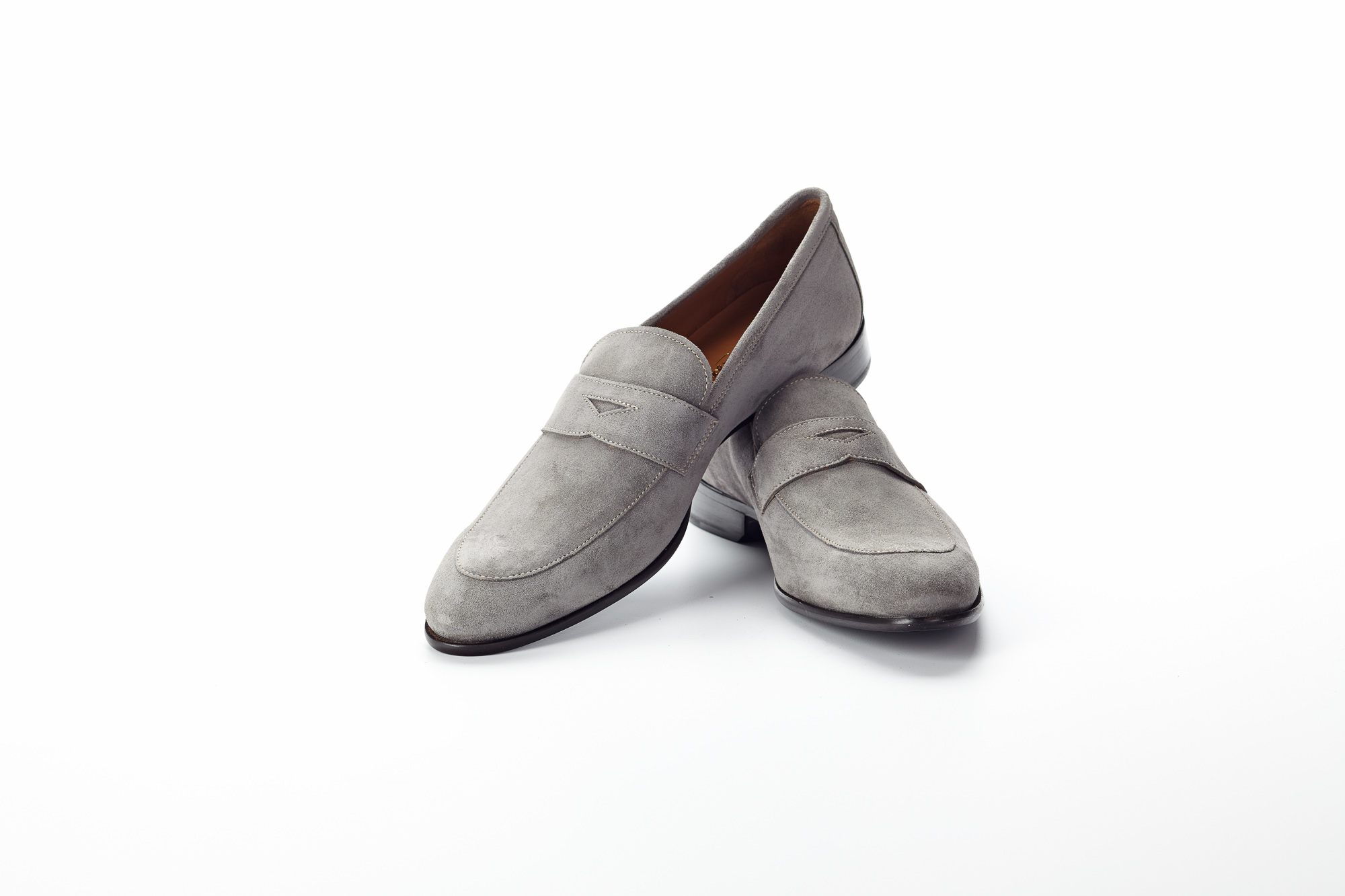 Paul Evans Stewart Penny Loafer In Grey Suede