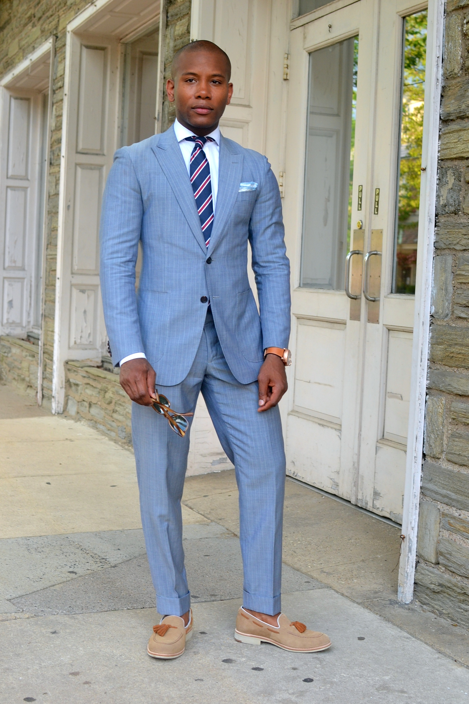 Sabir Peele In Black Lapel Suit & Johnston & Murphy Tan Ellington Moc toe Loafers