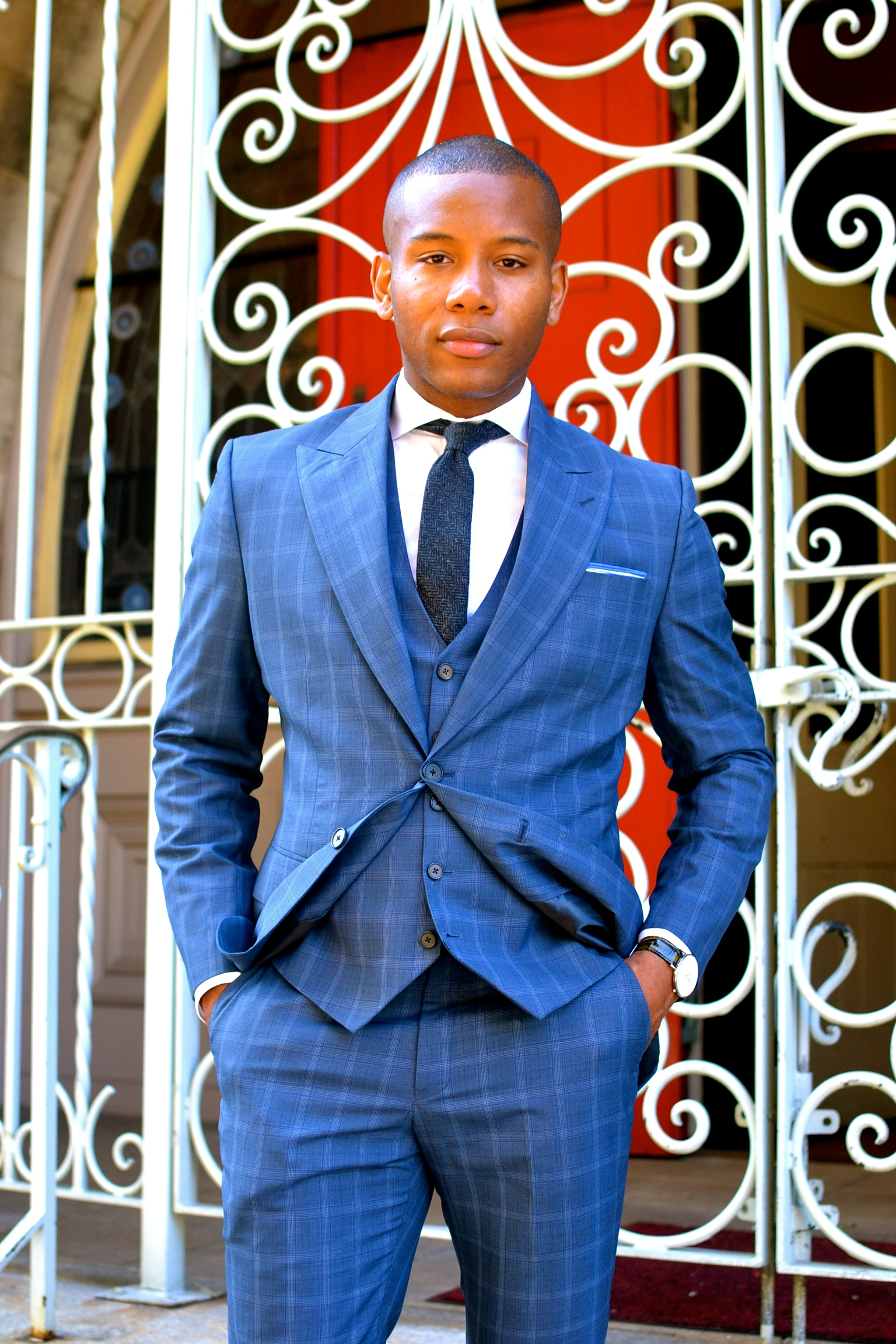 StudioSuits Custom Suit Blue Check Napolean Collection