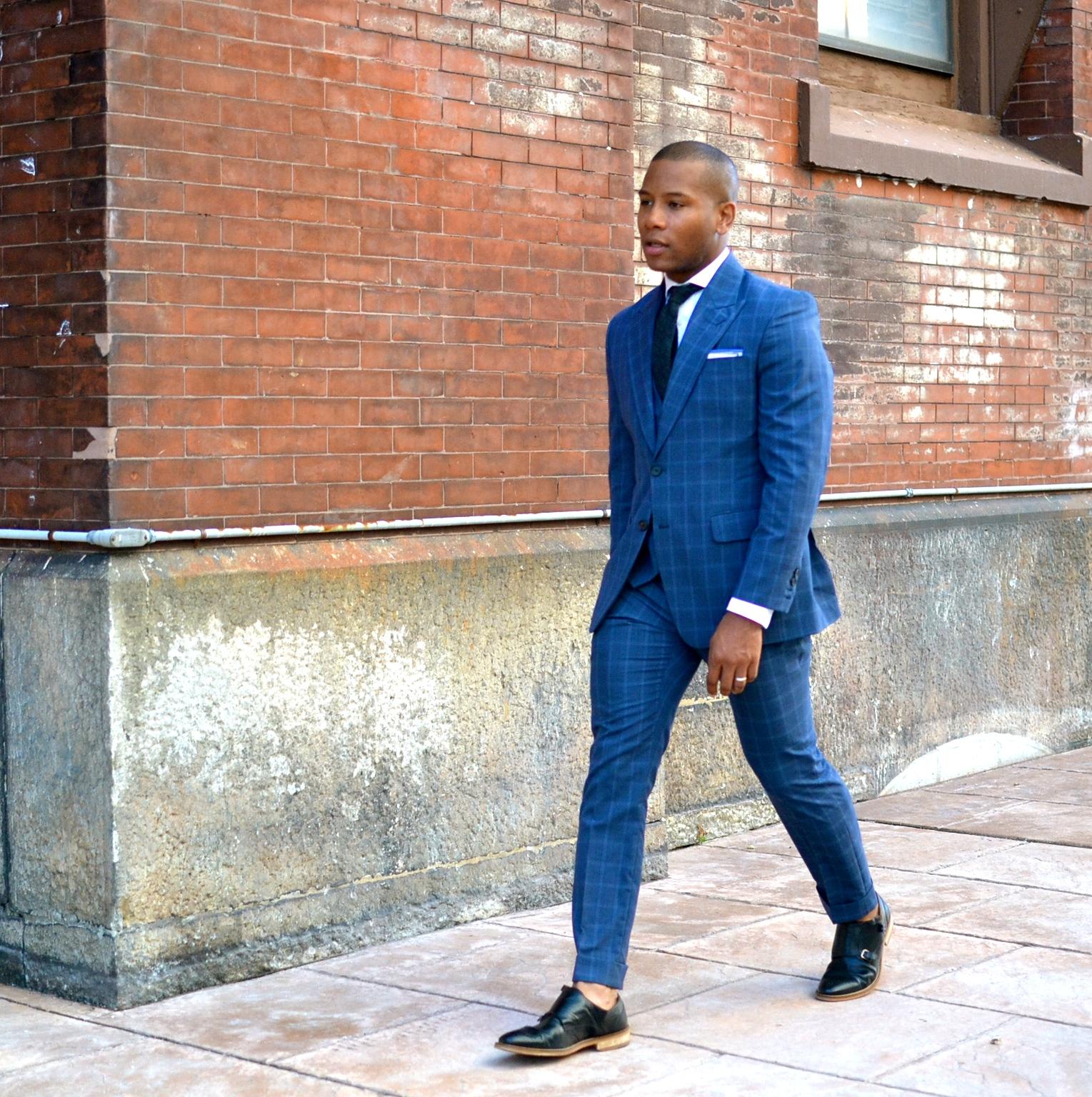 Studio Suit Custom Suit Blue Check Napolean Collection