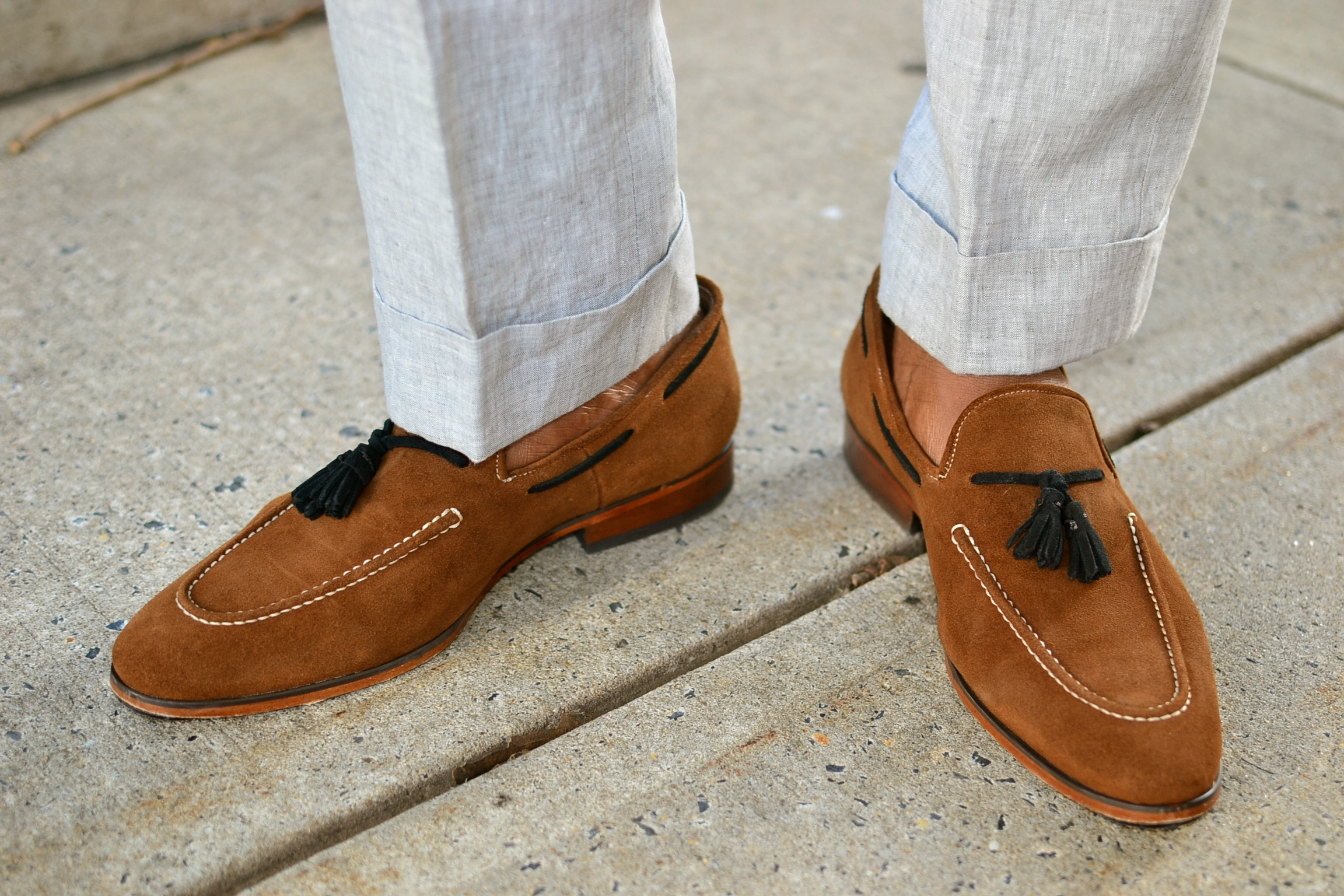 Just a men shoe caramel suede loafer