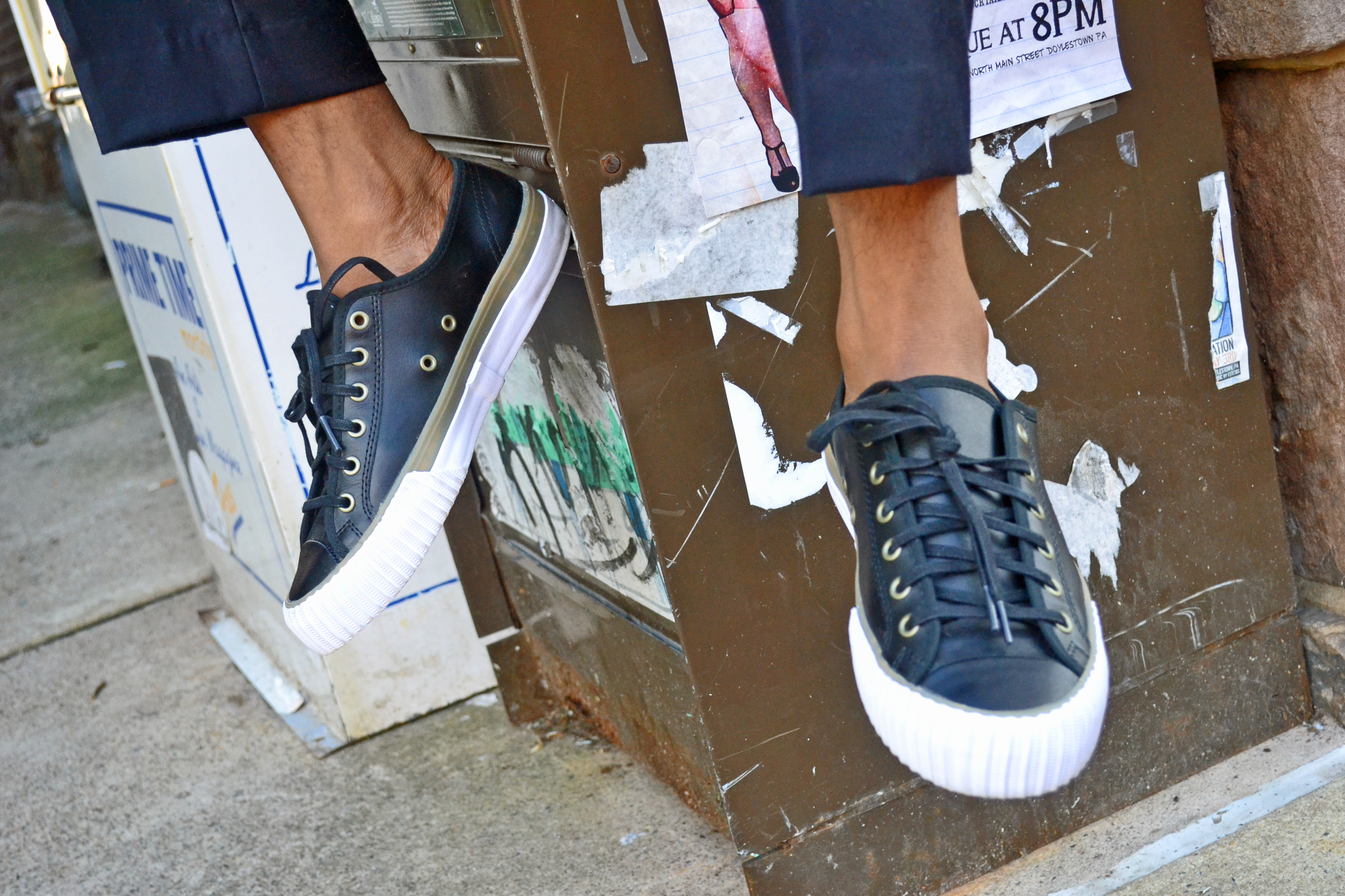 PF Flyers Center Low Black Leather Sneakers on Men's Style Pro