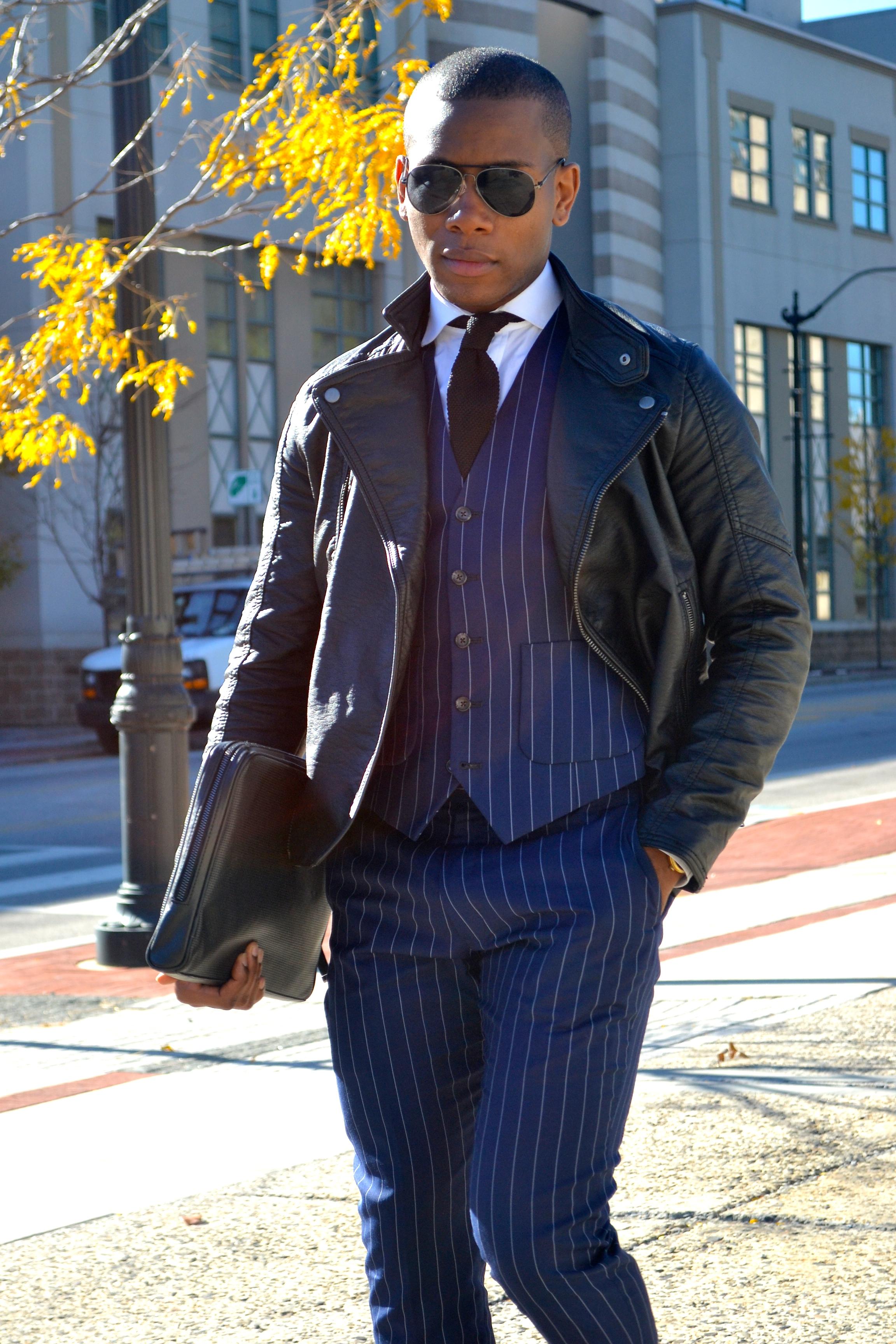 Sabir M. Peele of Men's Style Pro in Imparali Chalk Stripe Suit