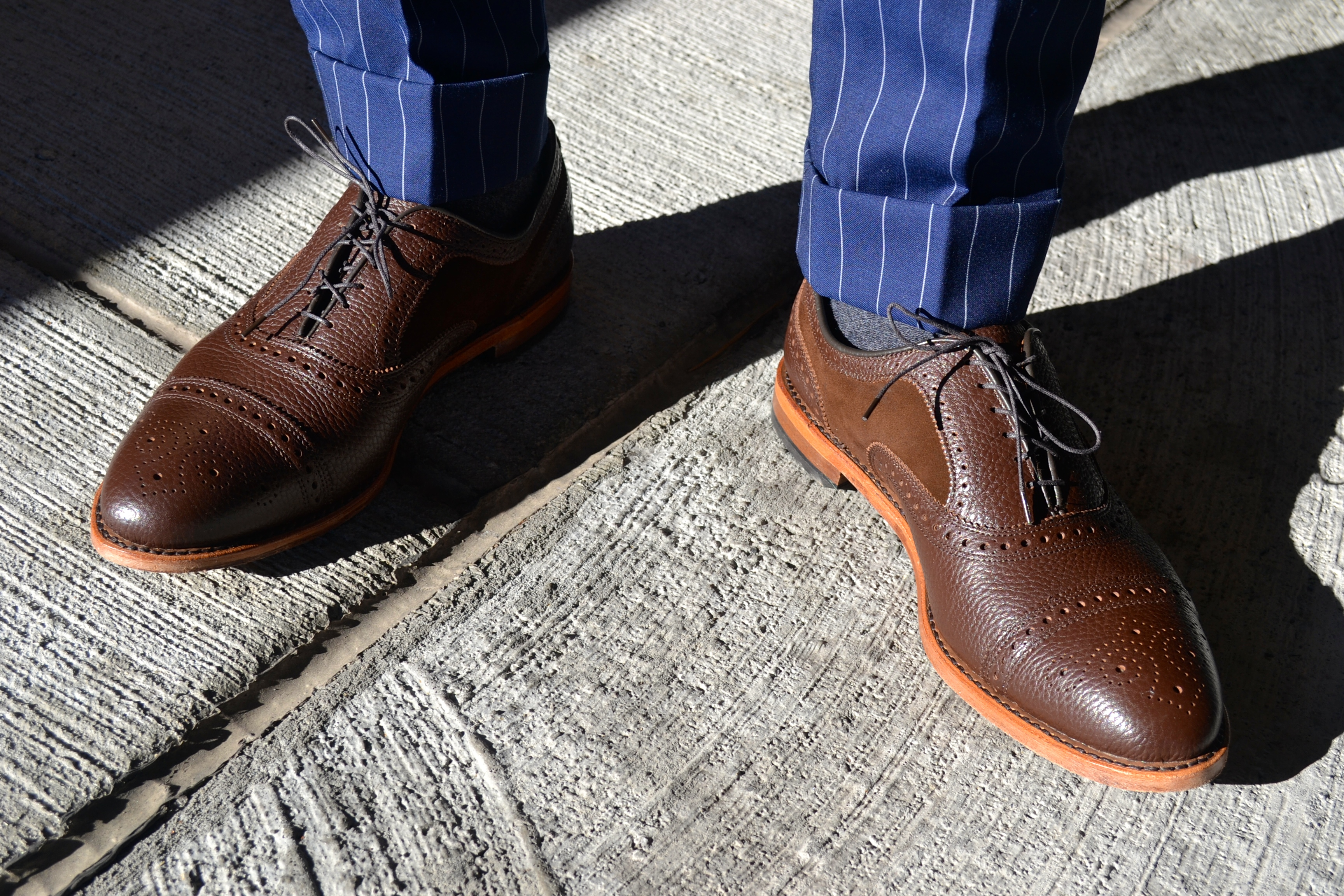 Men's Style Pro in Imparali Edinburgh Custom Chalk Stripe Suit and Allen Edmonds Custom Shoes