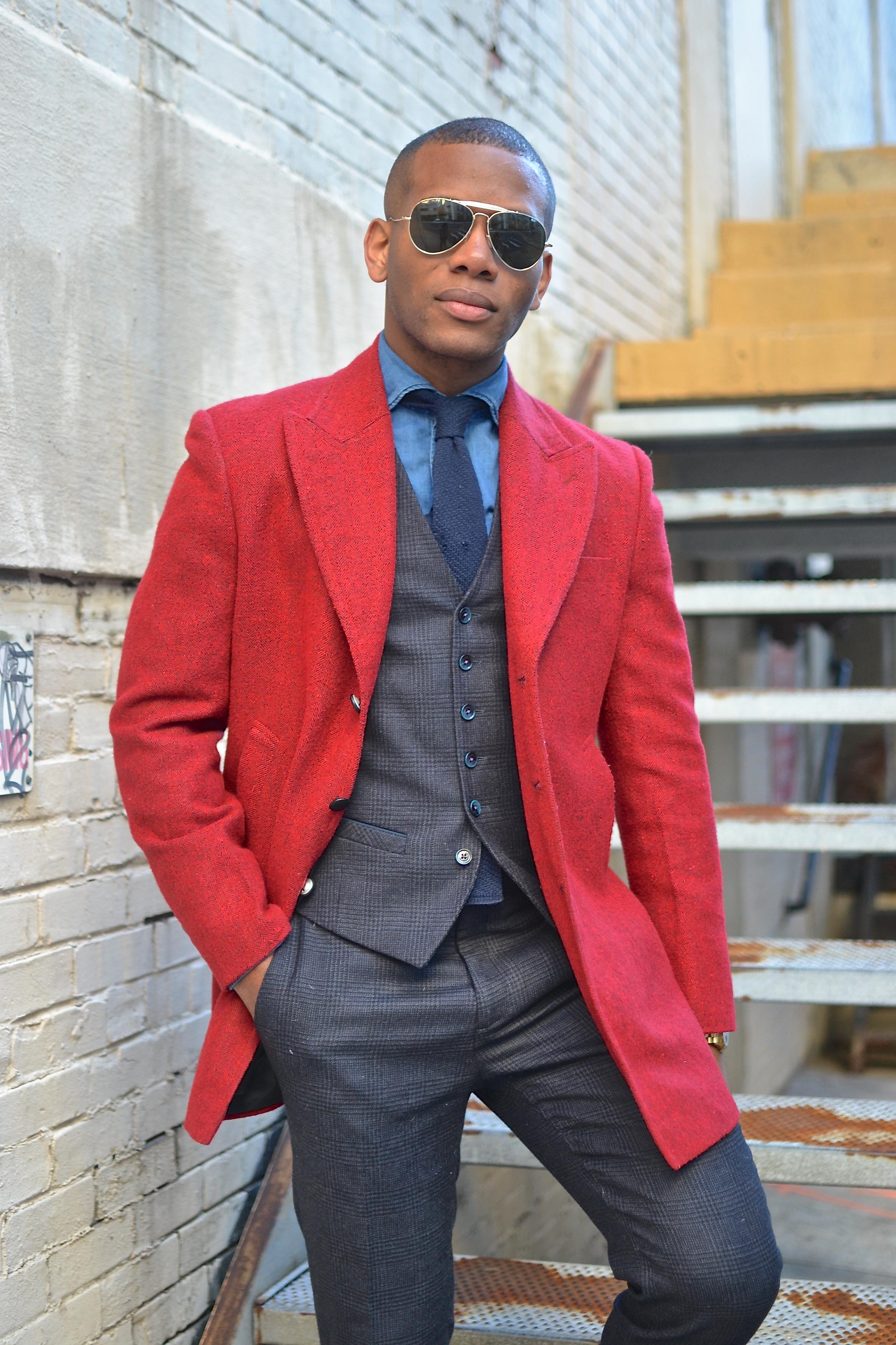 StudioSuits Custom Vintage Red Tweed Topcoat