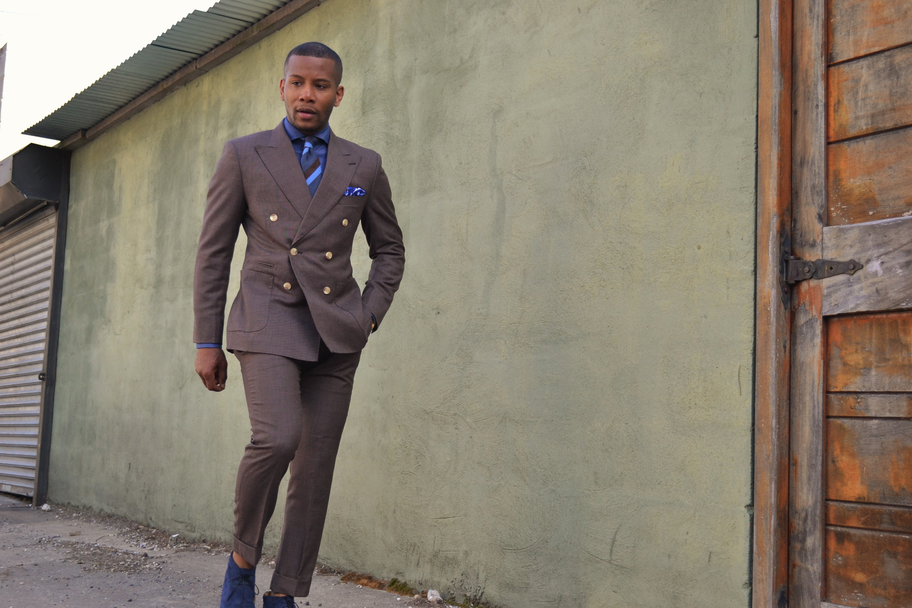 Imparali Double Breasted Brown Suit on Men's Style Pro