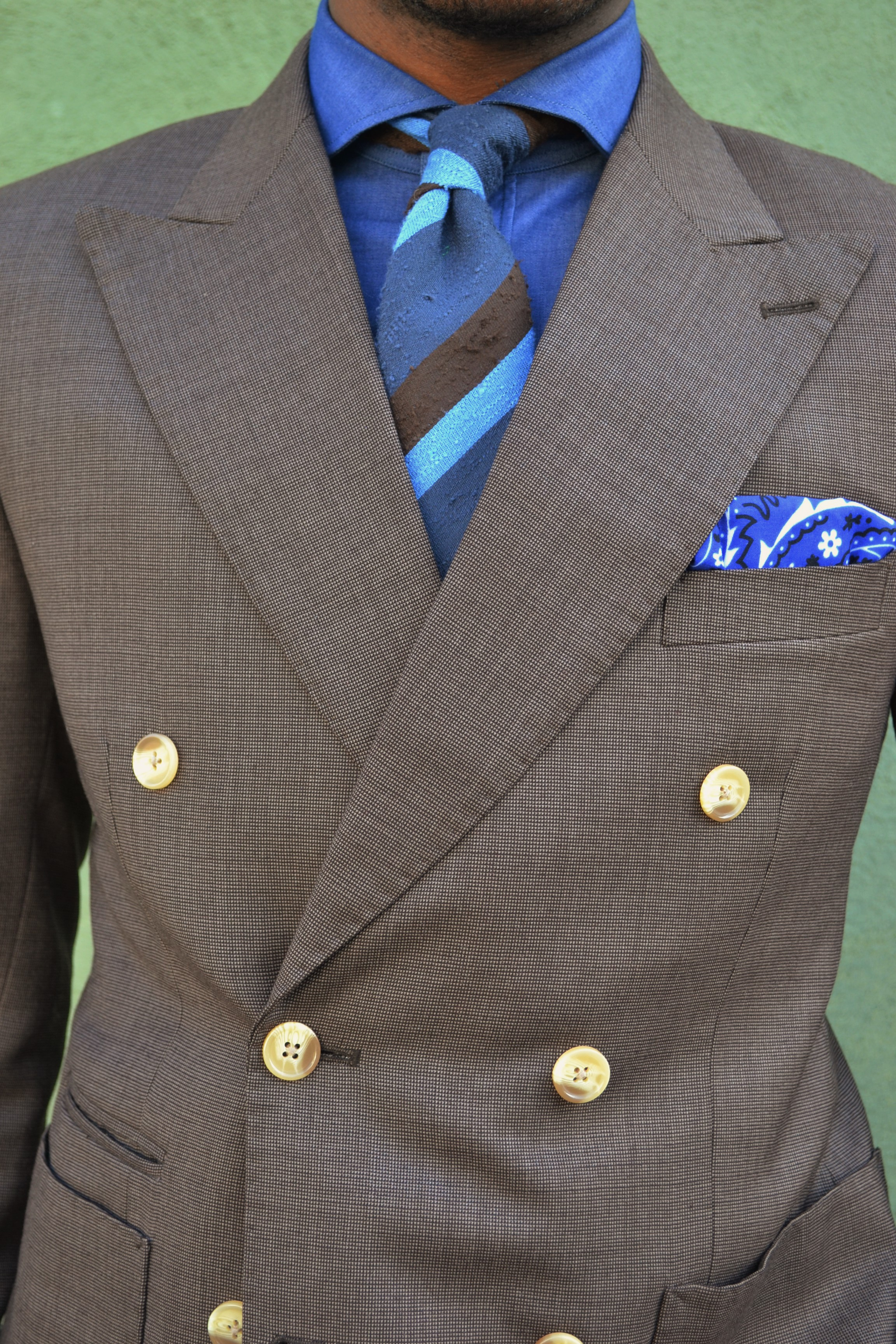 Imparali Brown Nailhead Double-Breast Suit
