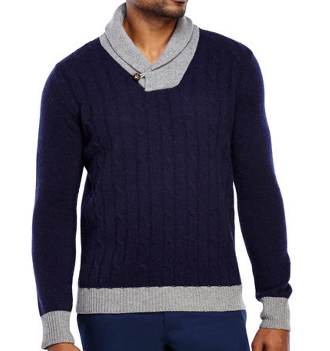 Barque New York navy shawl collar cable knit wool