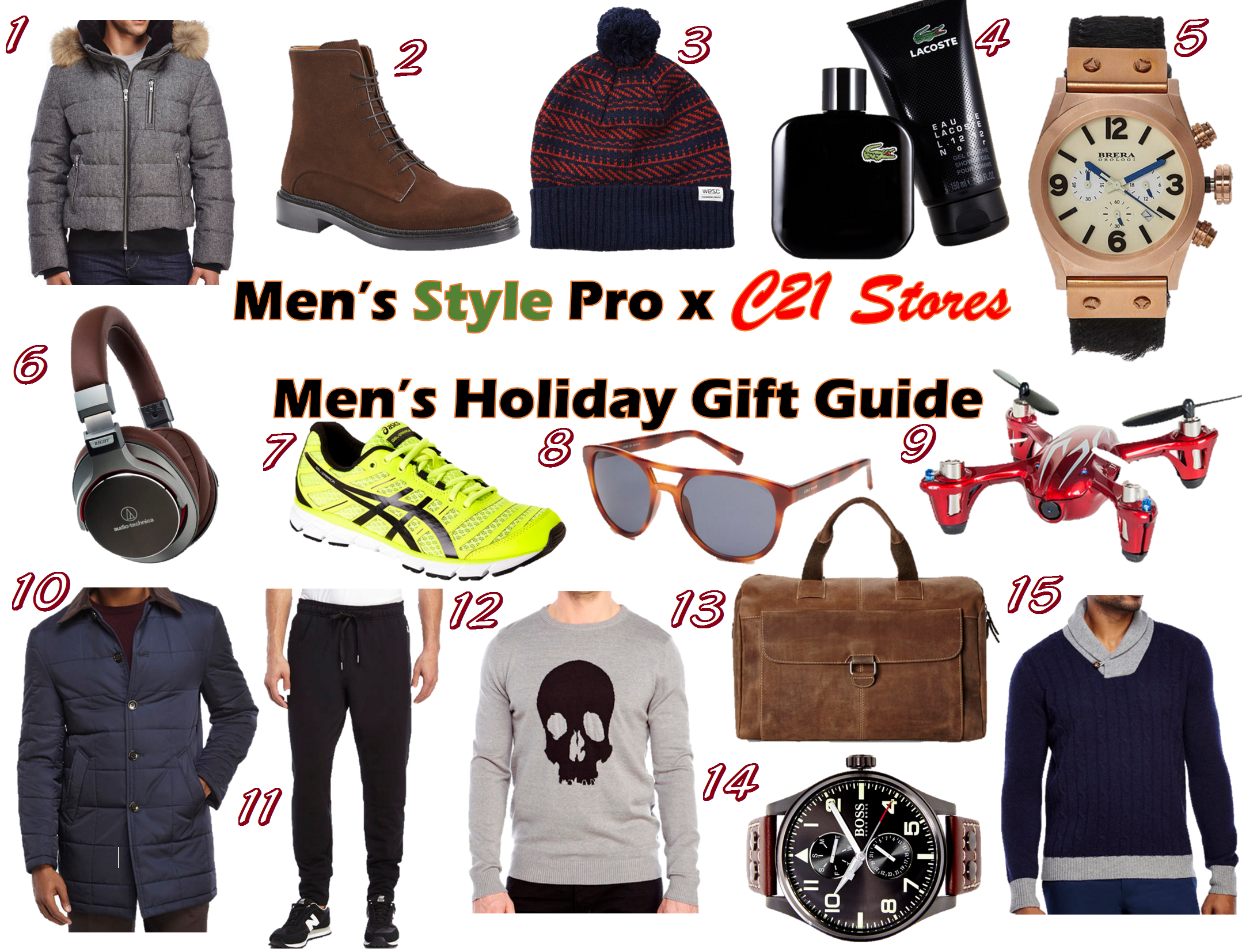 MSP x C21 Stores Men's Holiday Gift Guide Numbered