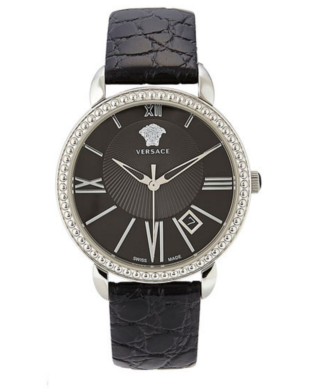 Versace Silver-Tone & Black Watch