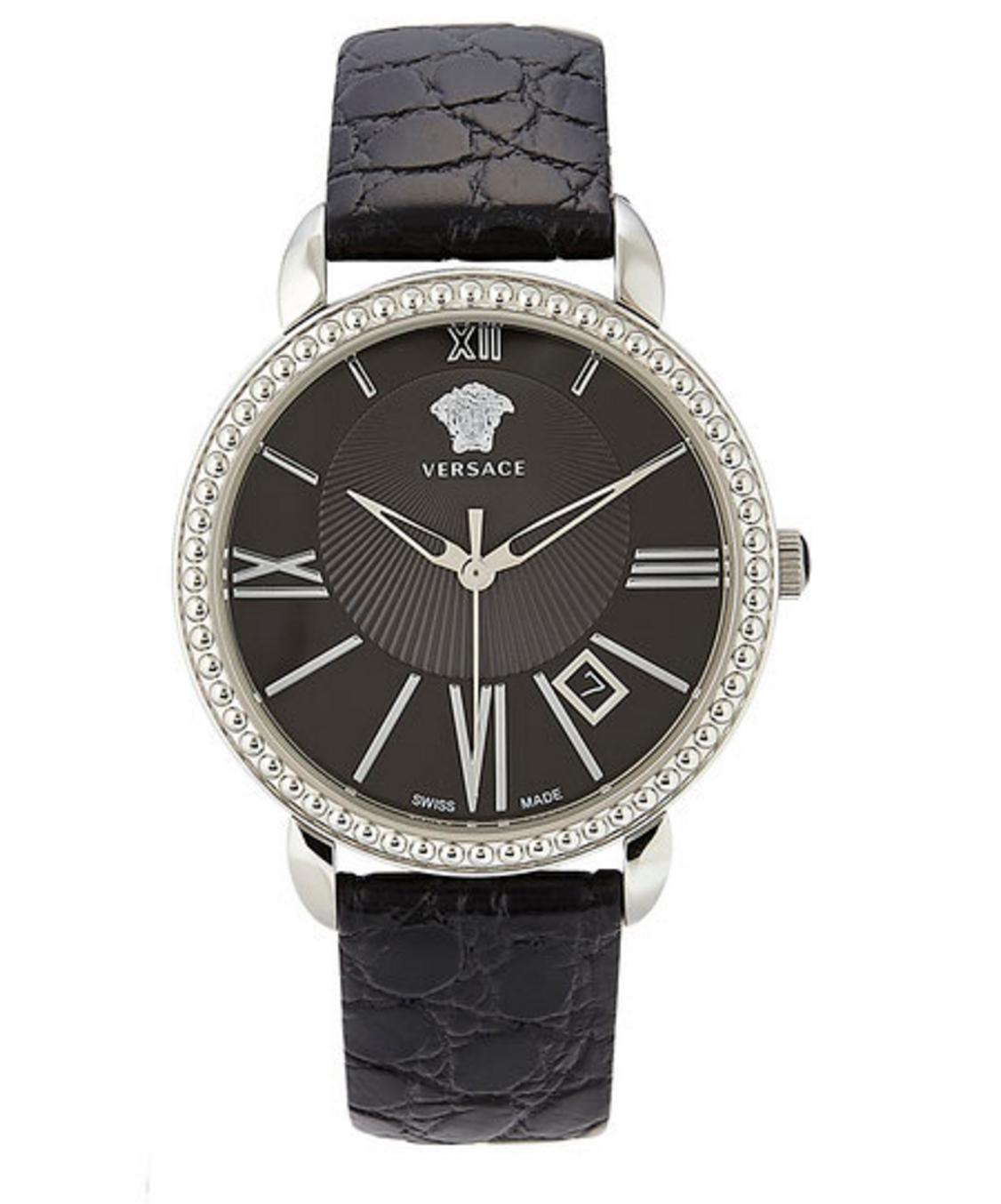 Versace Silver-Tone & Black Watch