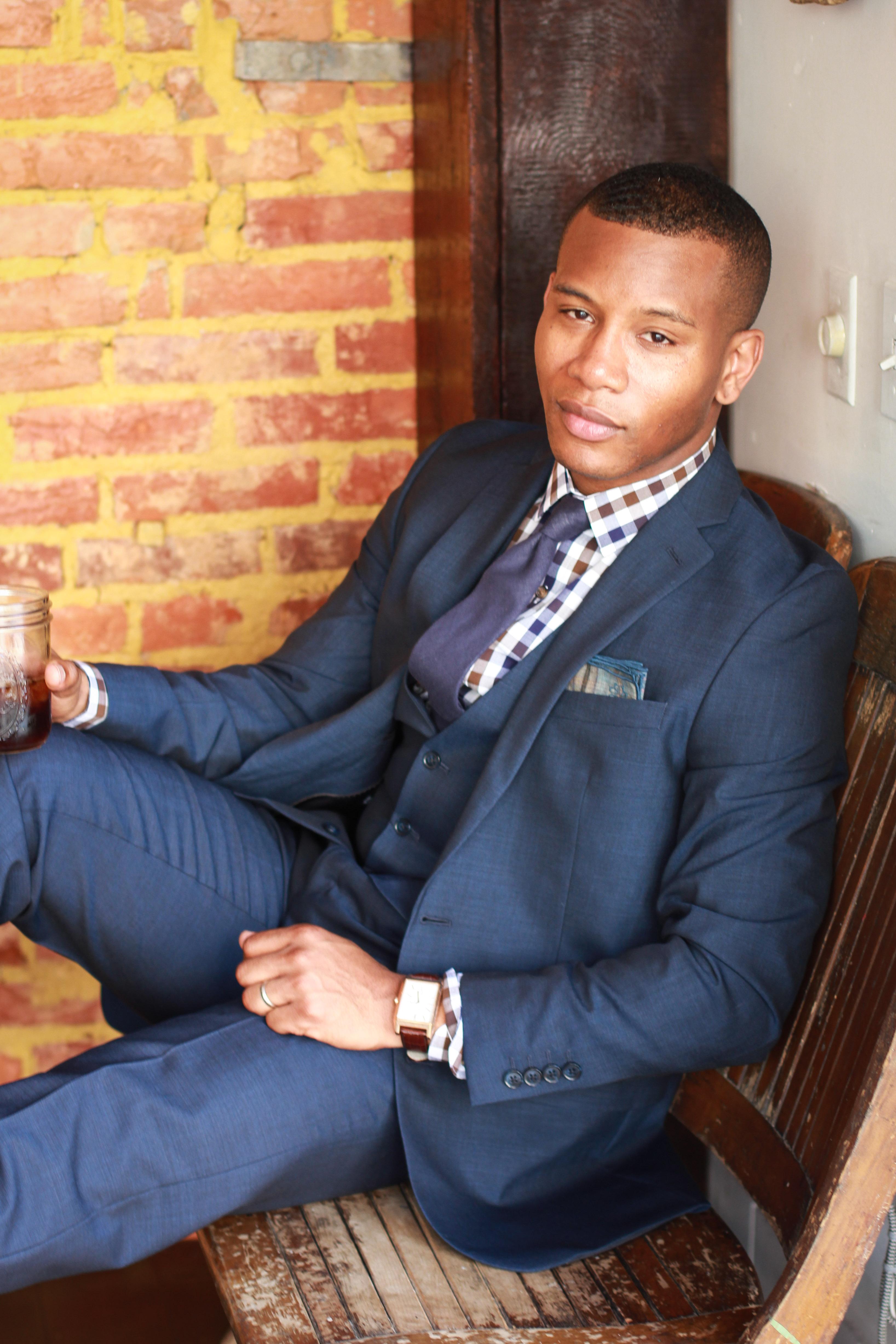 Sabir M. Peele of Men's Style Pro in Bar III Midnight Blue Suit For Macy's #Sponsored