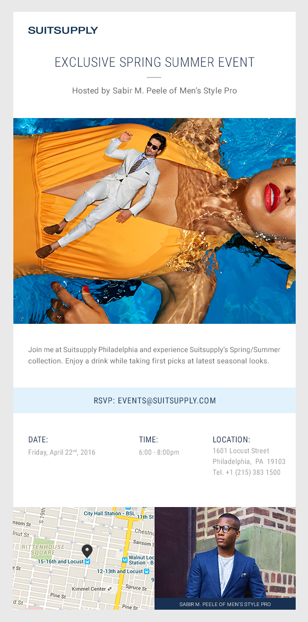 Men's Style Pro x Suitsupply Philly Event Invite