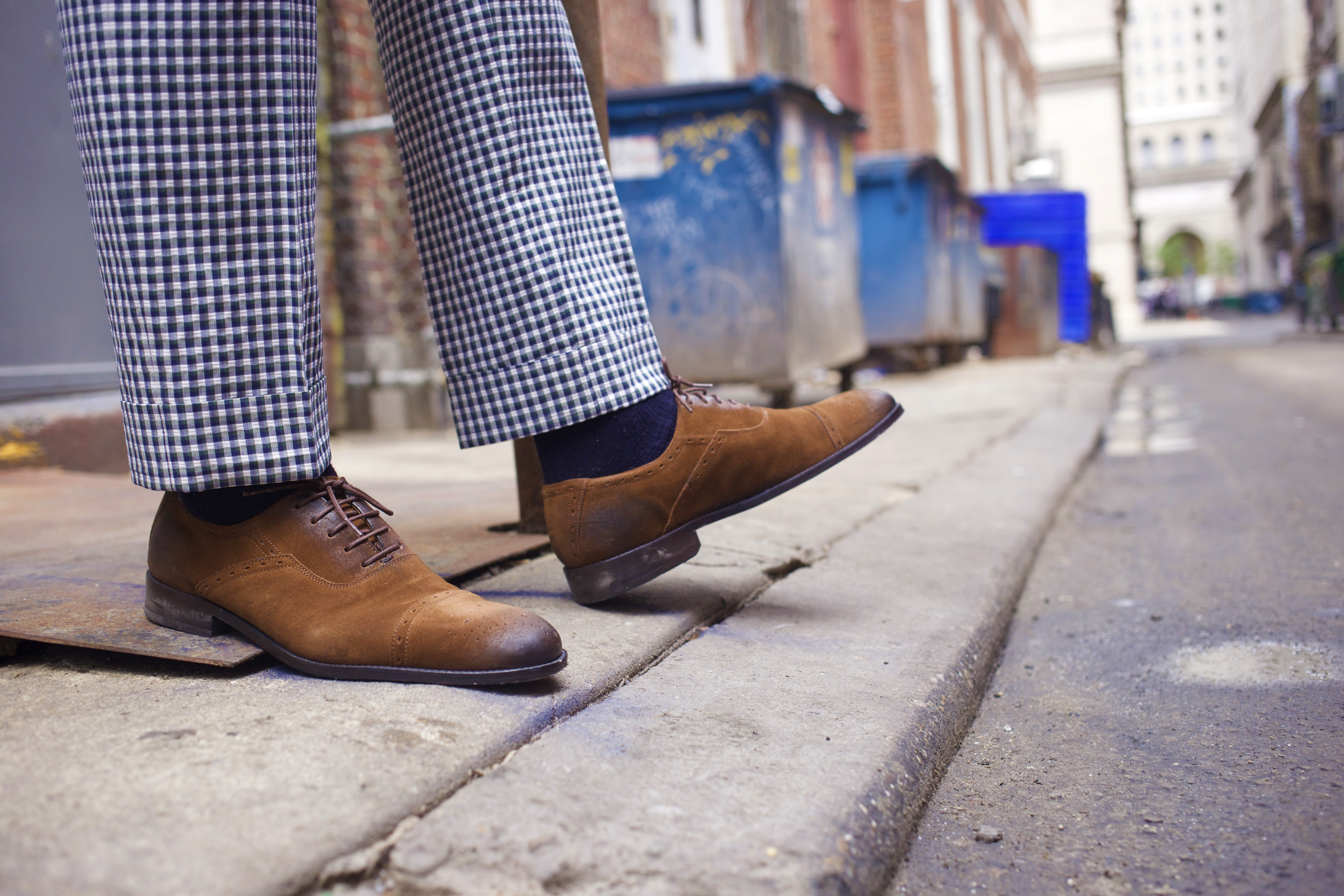 Sabir M. Peele wearing Cobble & Hyde Picadilly Snuff Oxfords