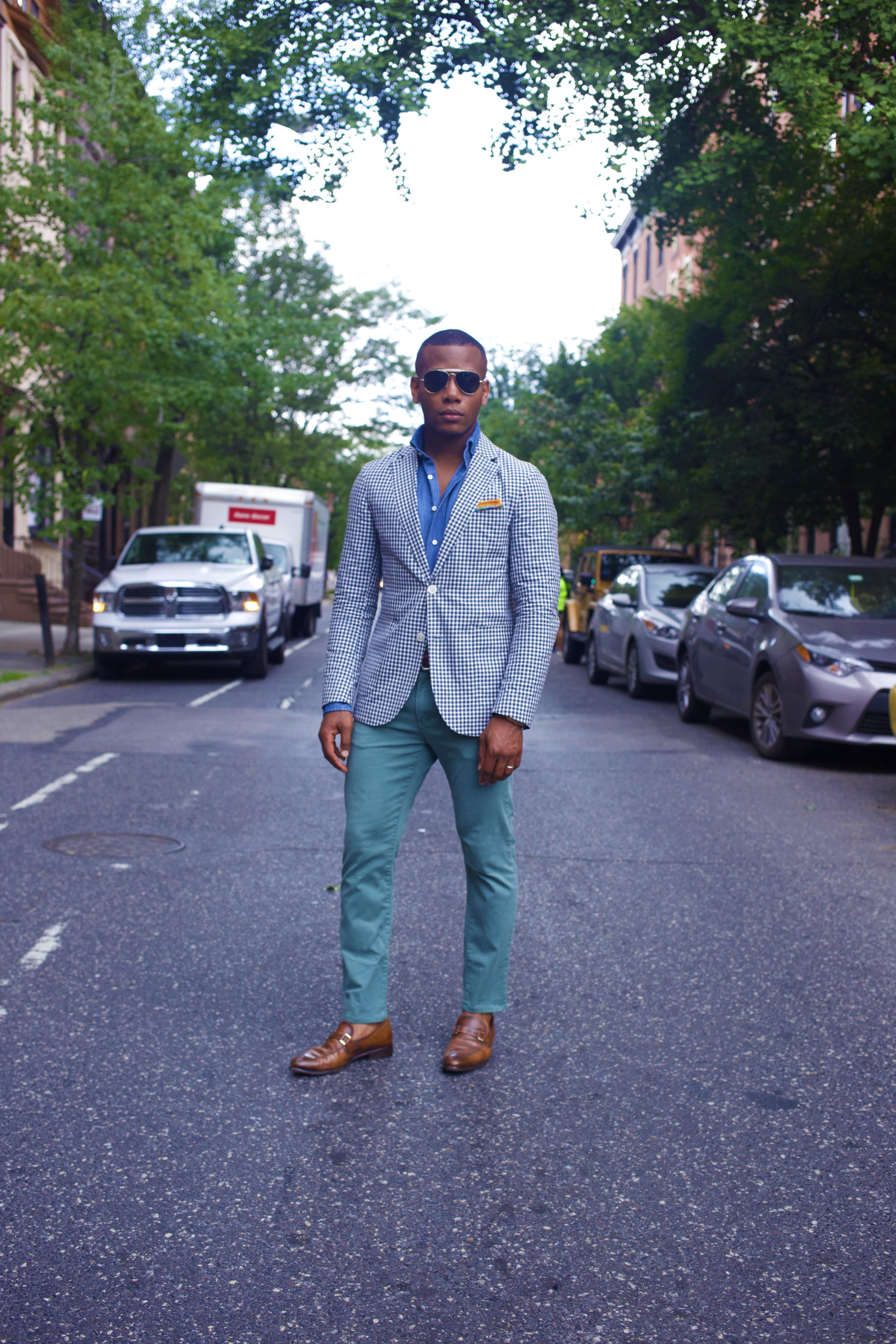 Sabir M. Peele of Men's Style Pro wearing Hardy Amies The Hardy Gingham Suit