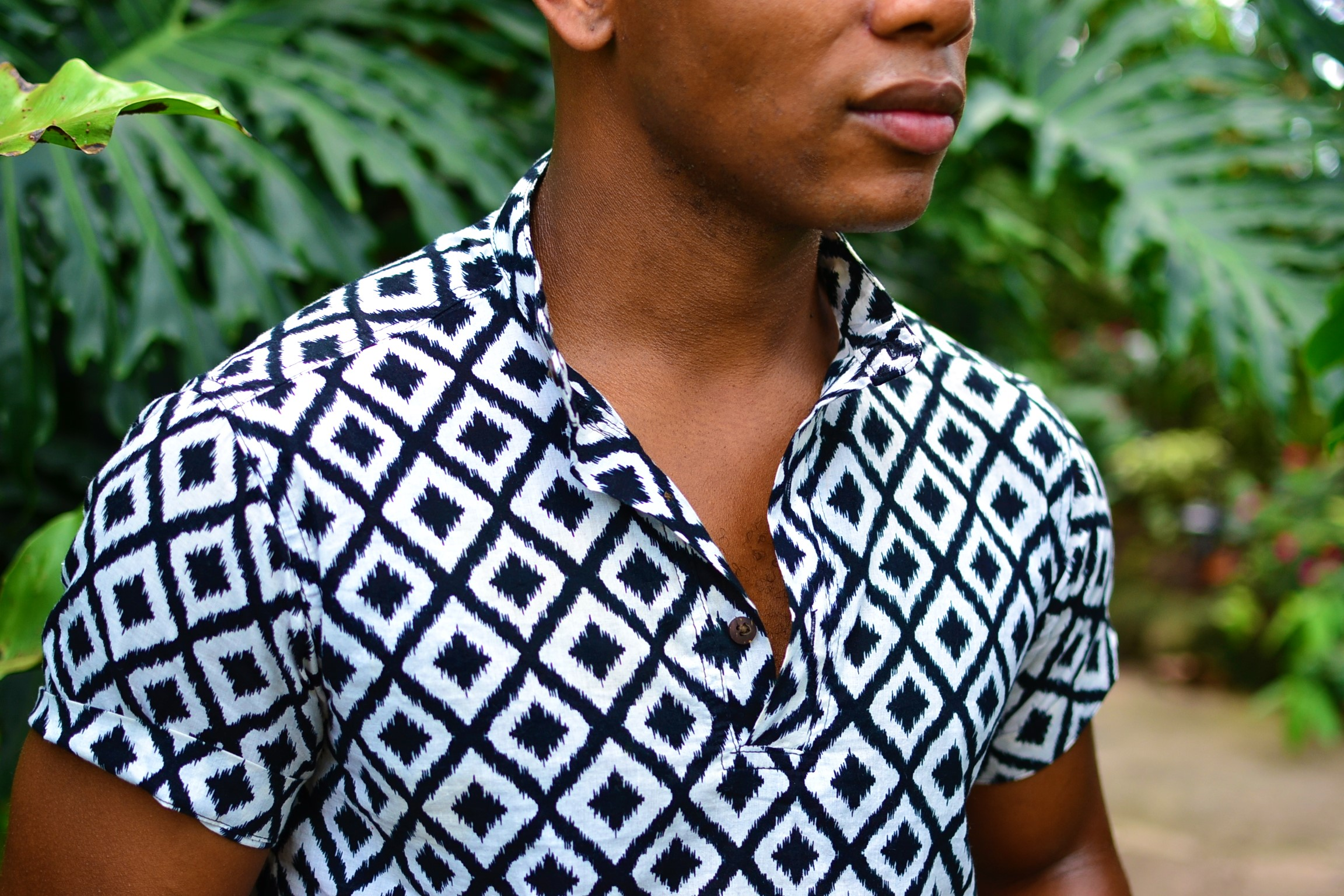 Sabir M. Peele in Hugh & Crye Band Collar Popover Shirt on Men's Style Pro