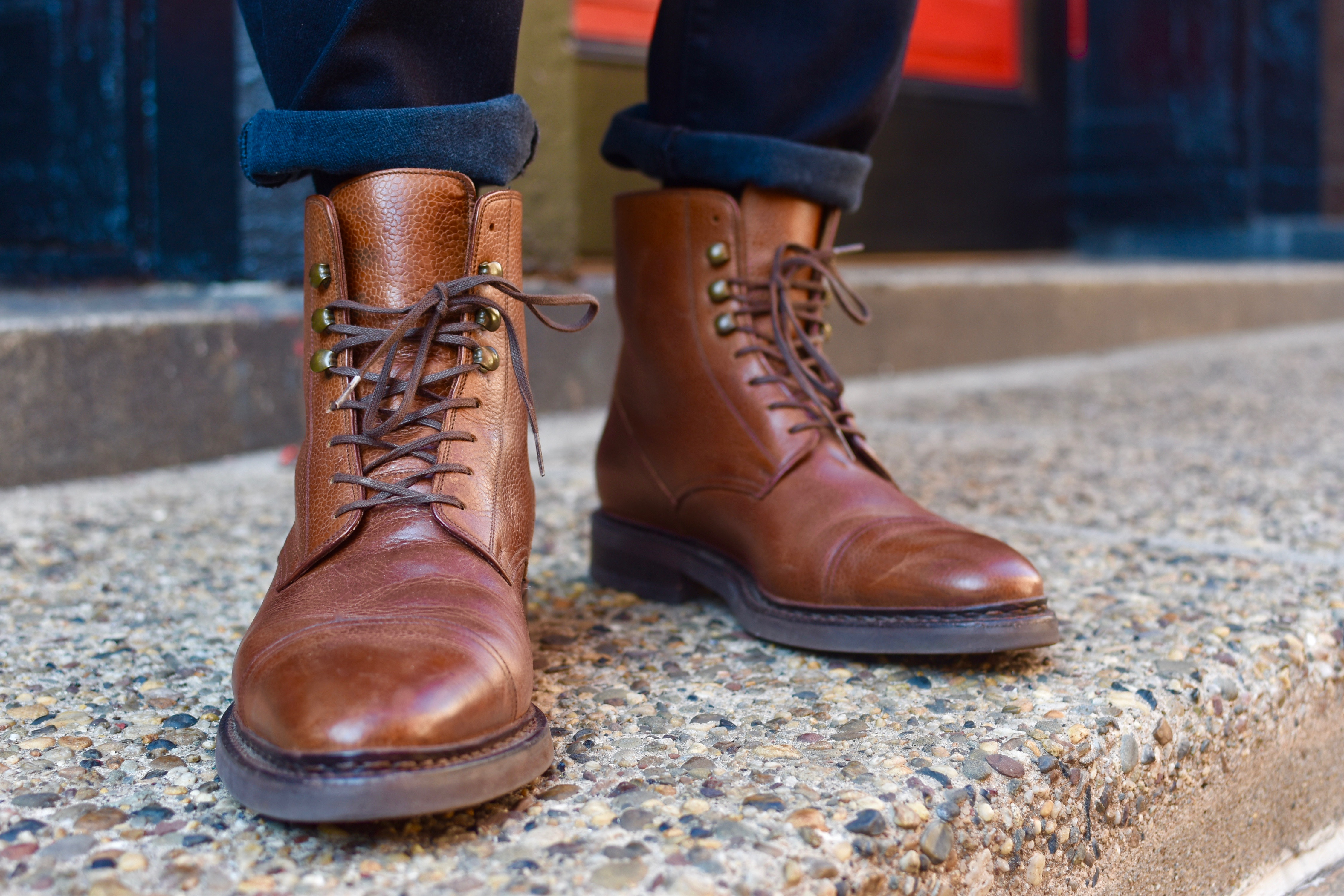 Men's Style Pro wearing cobbler union boots & axel arigato sneakers in boots vs sneakers