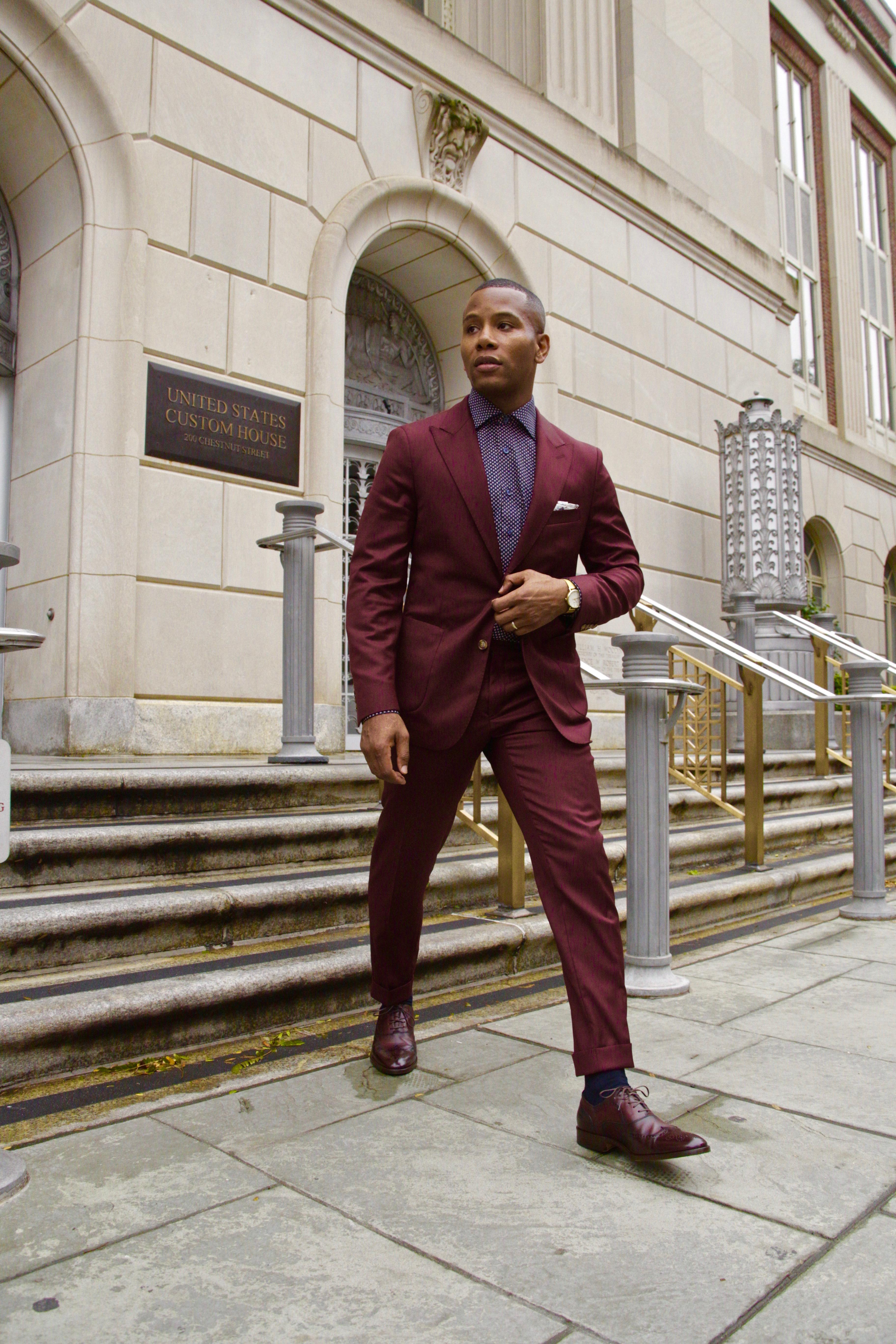 Oliver Wicks Burgundy Men's Suit