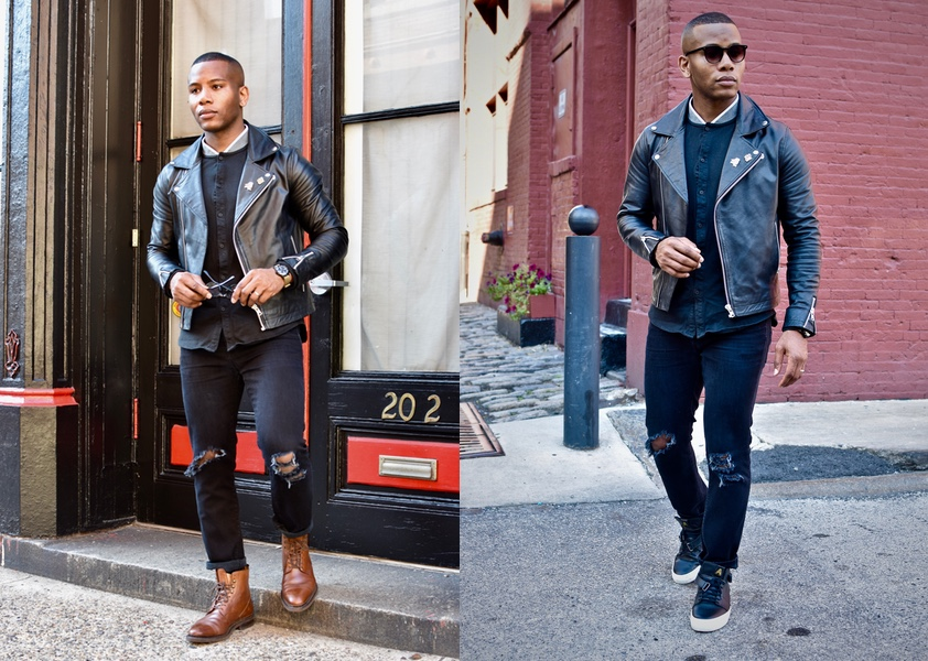Men's Style Pro wearing cobbler union boots & axel arigato sneakers