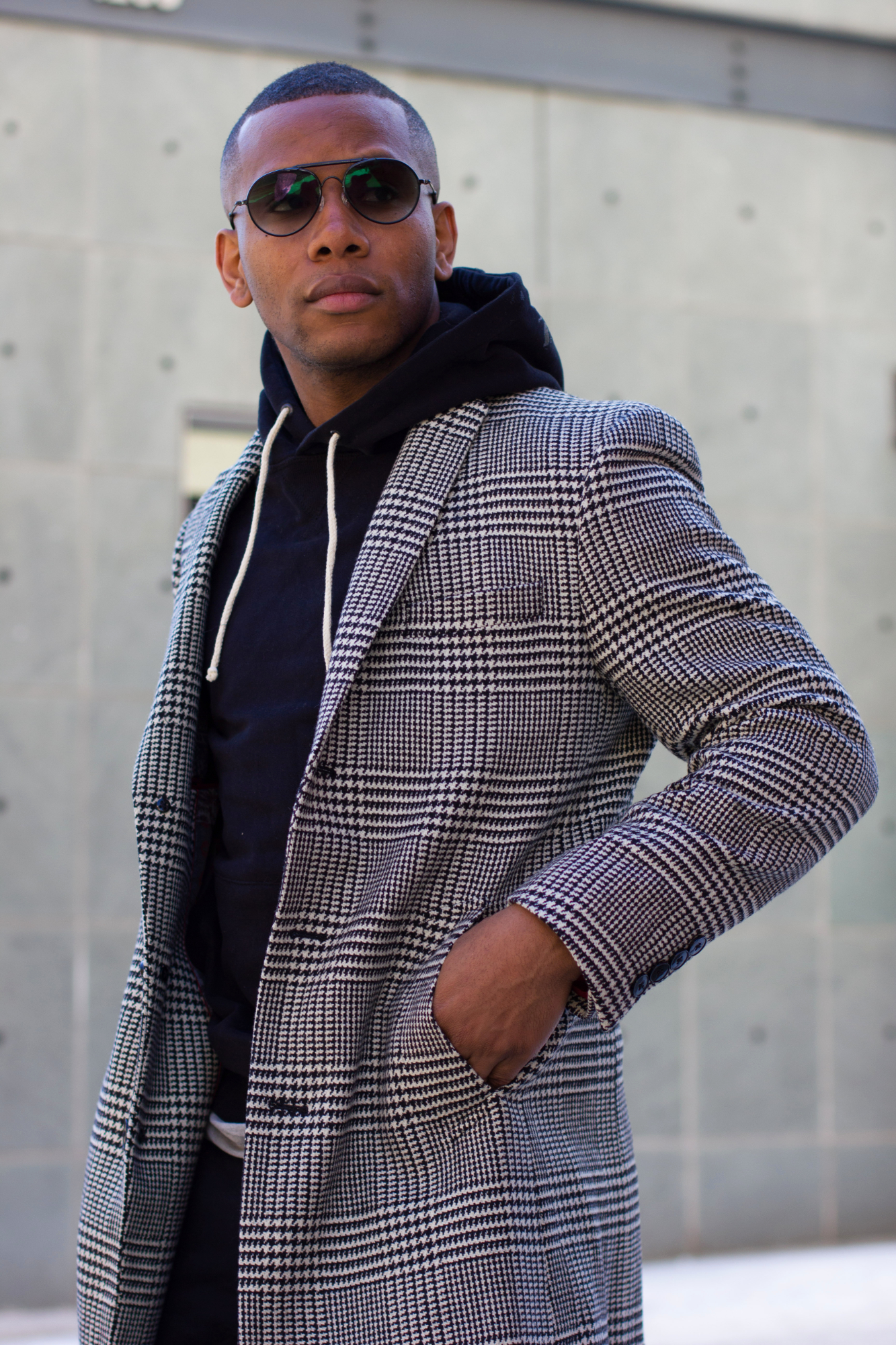 Sabir of Men's Style Pro in Black & White Tallia Orange Plaid Coat