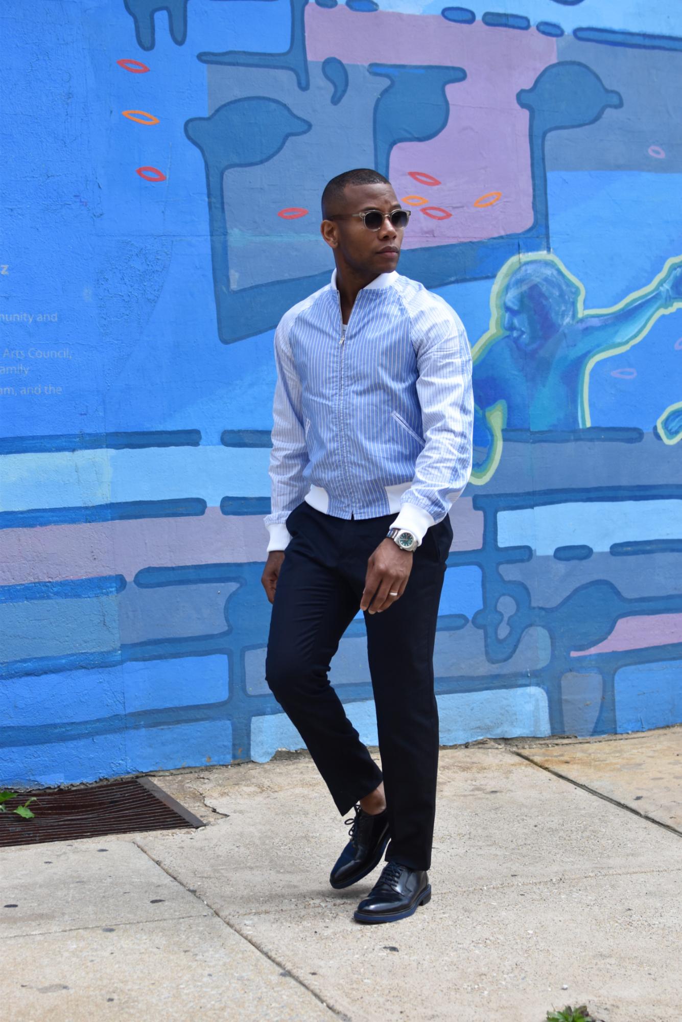 Sabir M. Peele of Men's Style Pro wearing Comme des Garcons Shirt Bomber Jacket