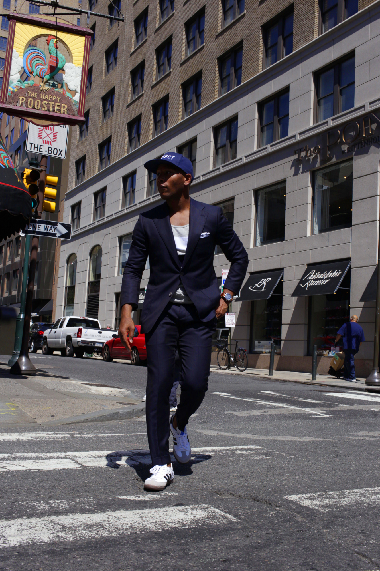 Sabir M. Peele in Damari Savile Navy Suit Off The Rack