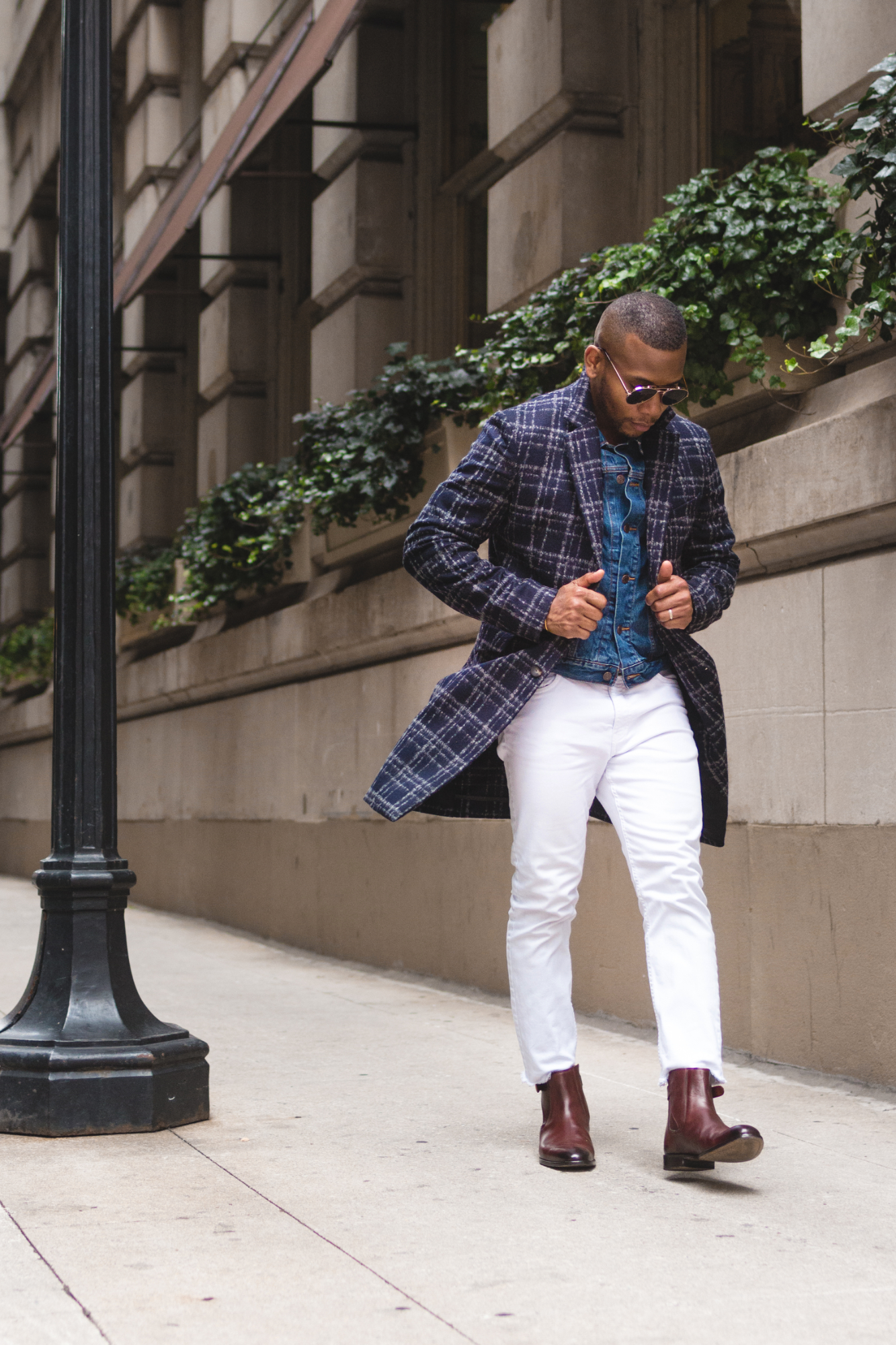 Sabir M. Peele of Men's style Pro in Hardy Amies Windowpane Topcoat