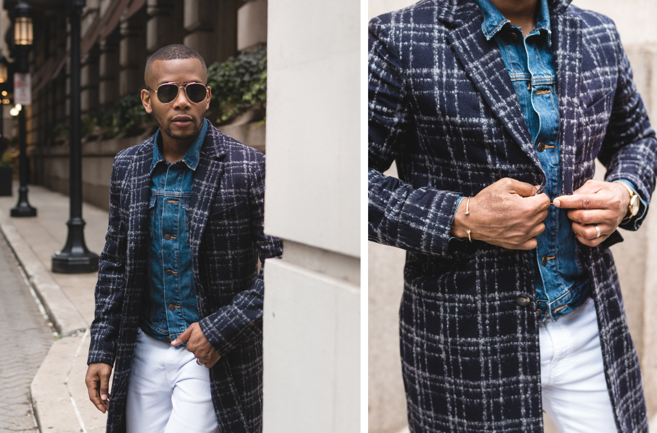 Sabir M. Peele in Hardy Amies Wool Check Bounce Coat