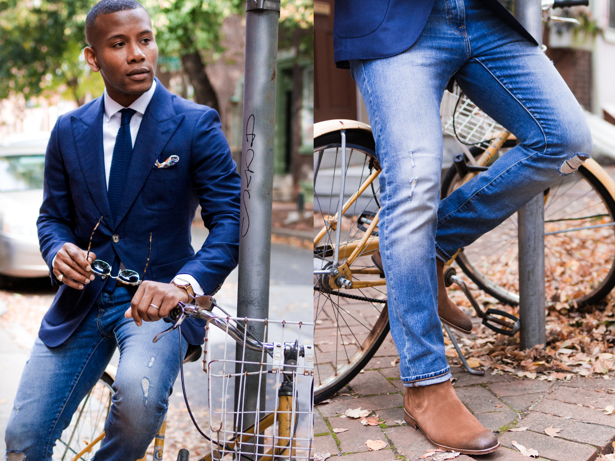 Sabir Of Men's Style Pro in ModaMatters Collab Blazer & CH Collab Boots