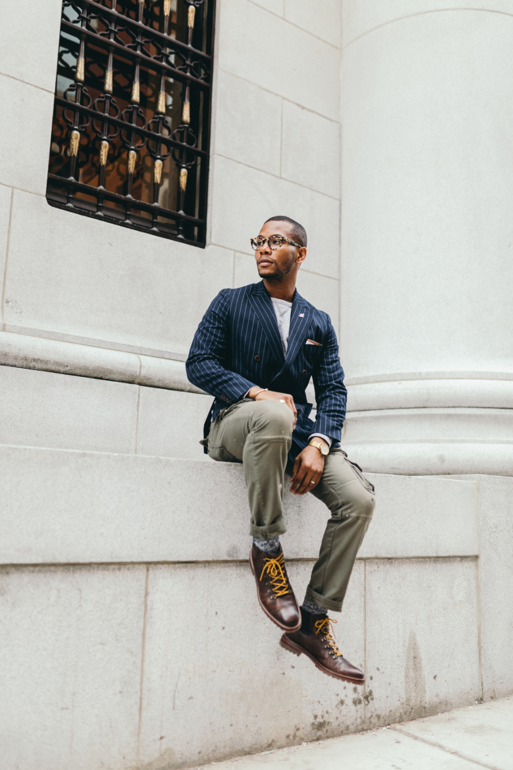 Sabir M. Peele of Men's Style Pro in Double Breasted Suit Jacket and Cargo Pants