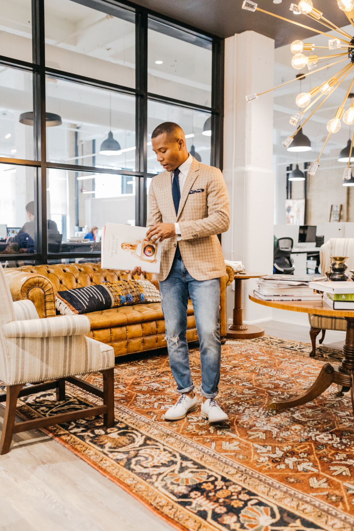 Sabir M. Peele of Men's Style Pro at Philly Mag Office wearing Lido Suit via ModaMatters Creative Office Style