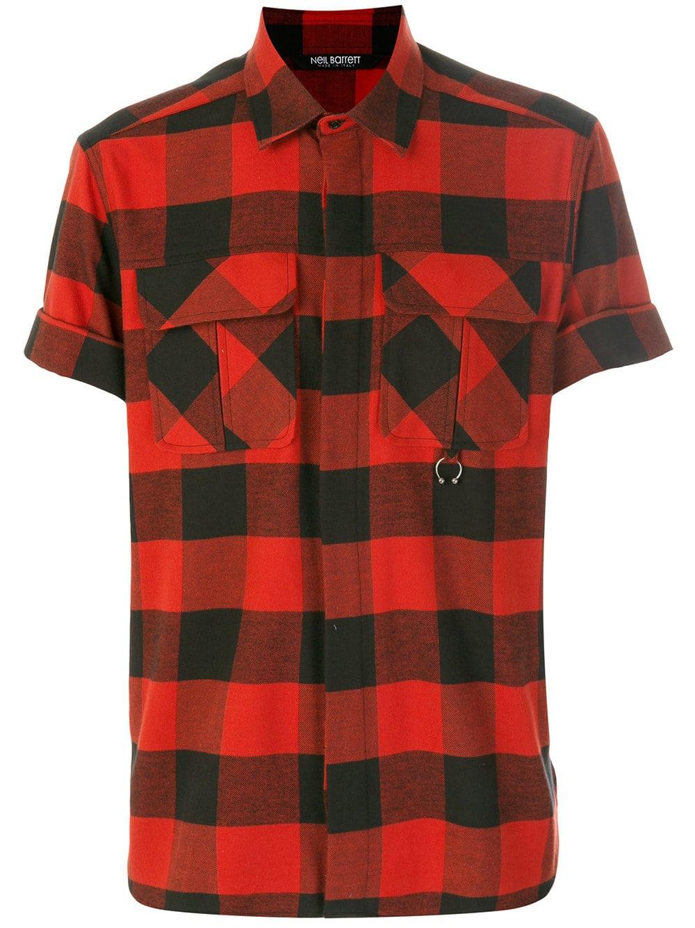 Neil Barrett Buffalo Plaid Short Sleeve Shirt Farfetch Sale