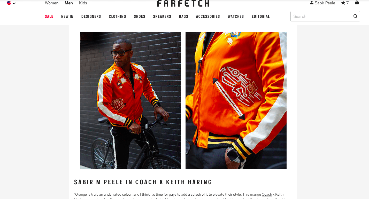 Sabir M. Peele via Farfetch wearing Coach x Keith Haring